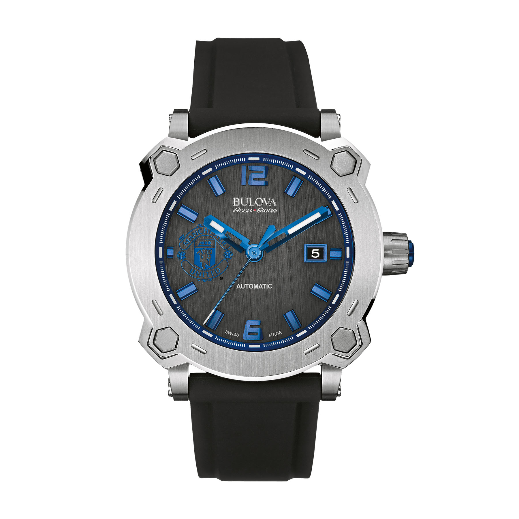 Manchester United Bulova Accu.Swiss Stainless Steel Watch - Black Dial with Blue Crest
