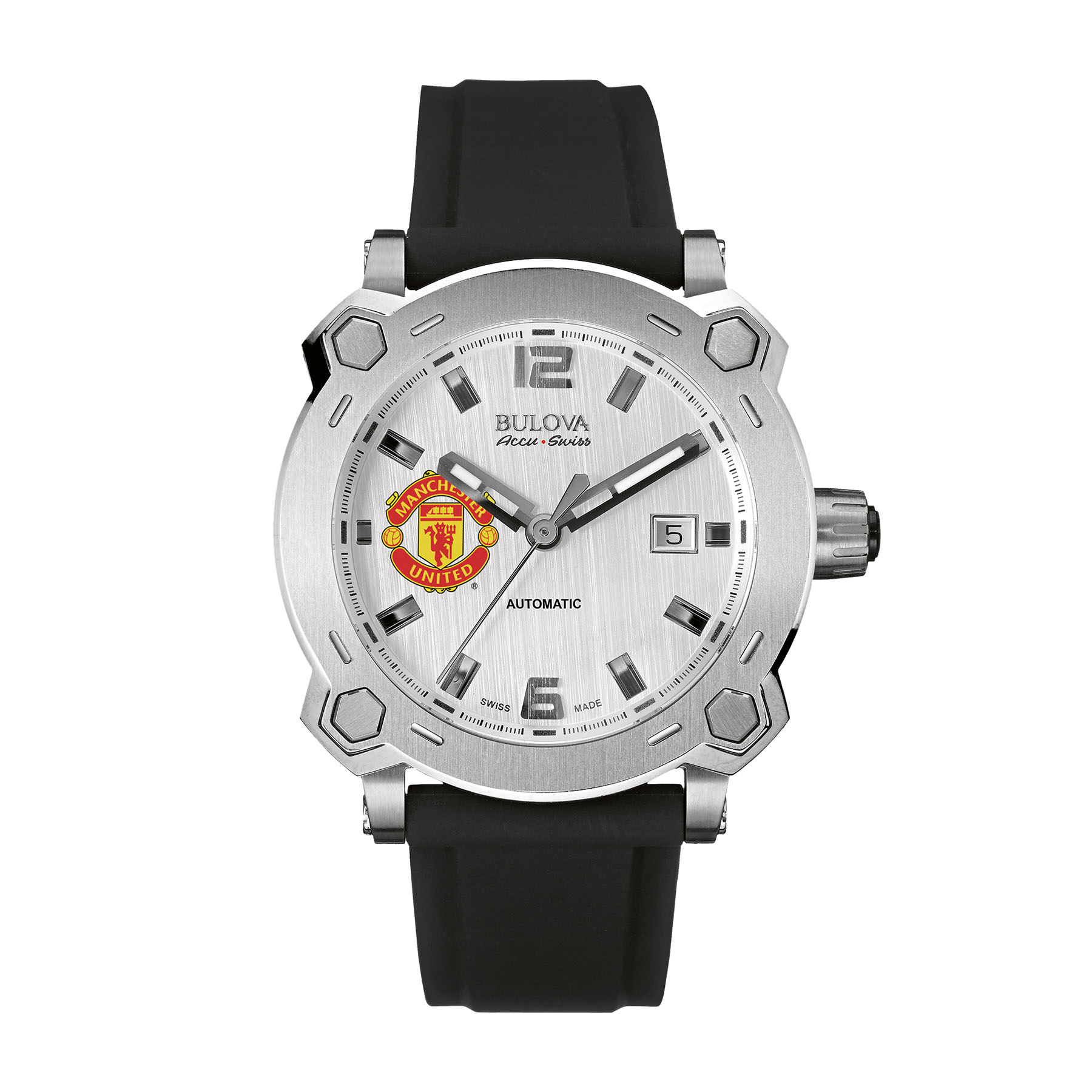 Manchester United Bulova Accu.Swiss Stainless Steel Watch - Sliver Dial with Crest