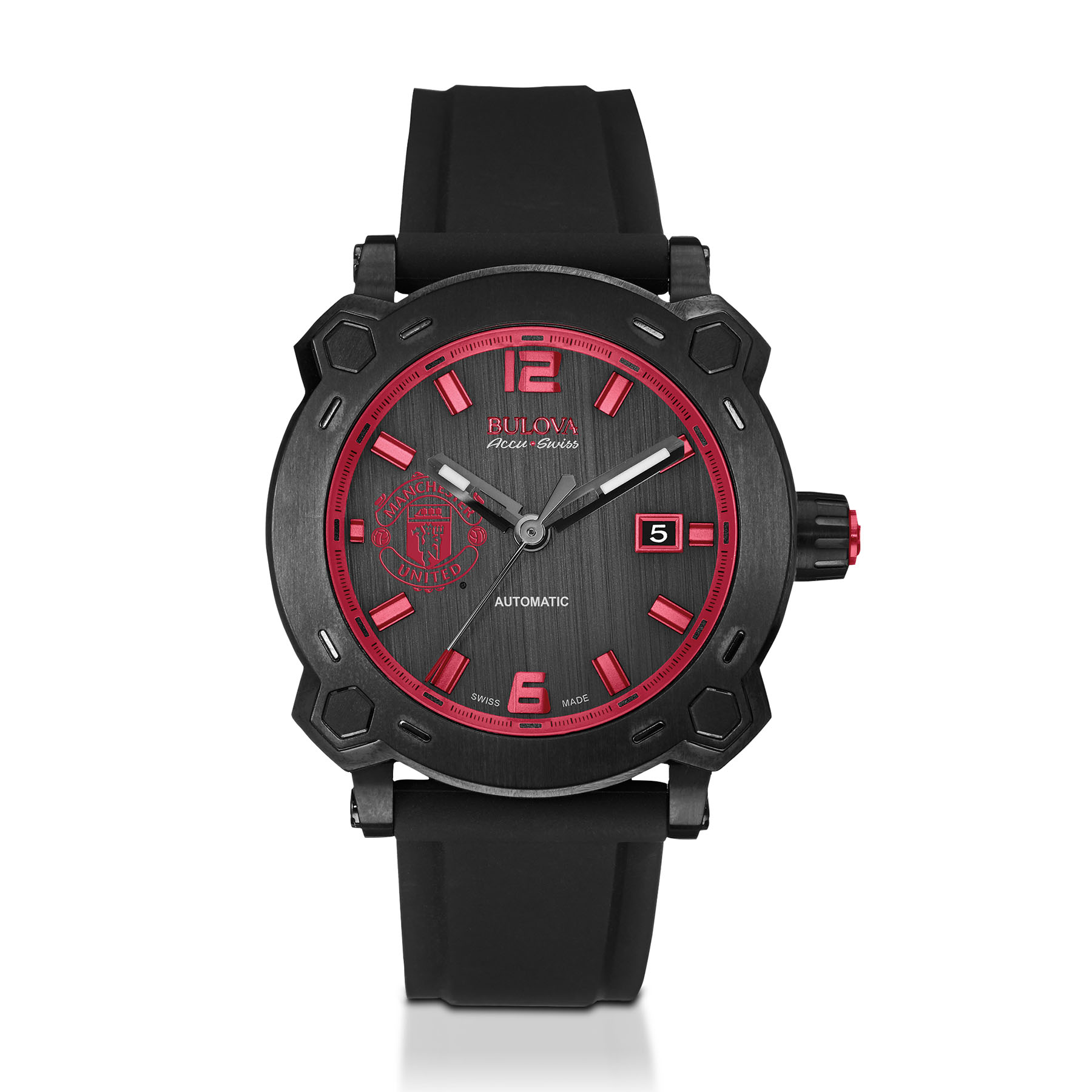 Manchester United Bulova Accu.Swiss Titanium Watch - Black Dial with Red Crest