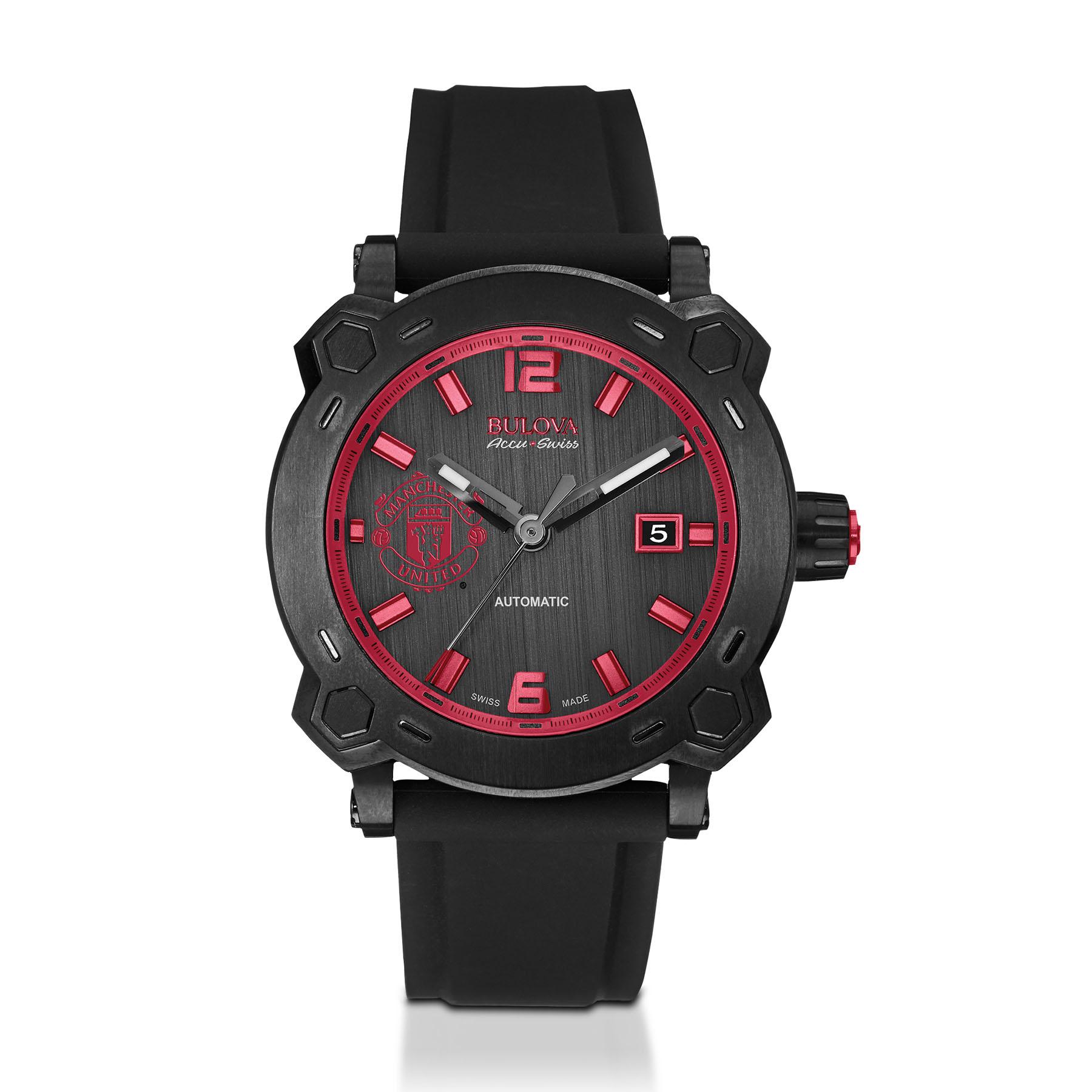 Manchester United Bulova Accu.Swiss Titanium Watch - Black Dial with Red Crest