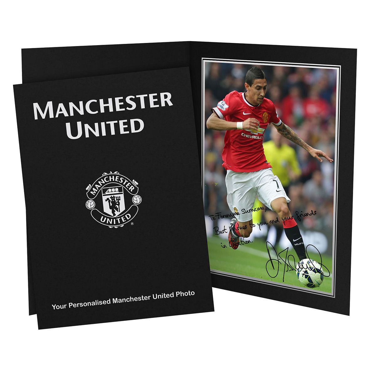 Manchester United Personalised Signature Photo in Presentation Folder - Di Maria
