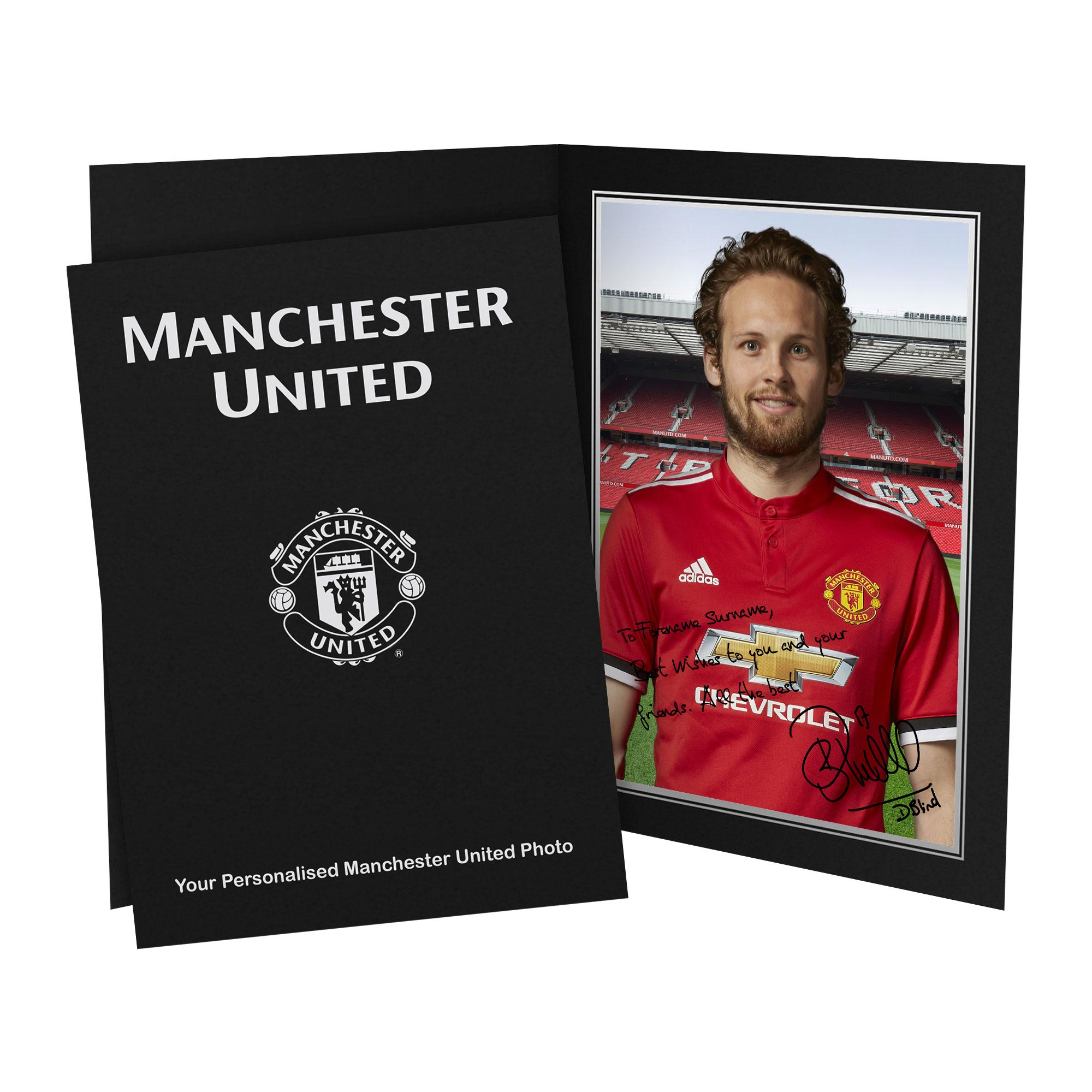 Manchester United Personalised Signature Photo in Presentation Folder - Blind
