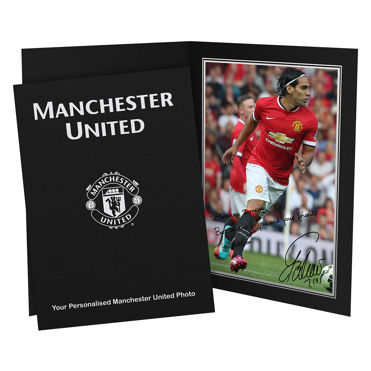 Manchester United Personalised Signature Photo in Presentation Folder - Falcao
