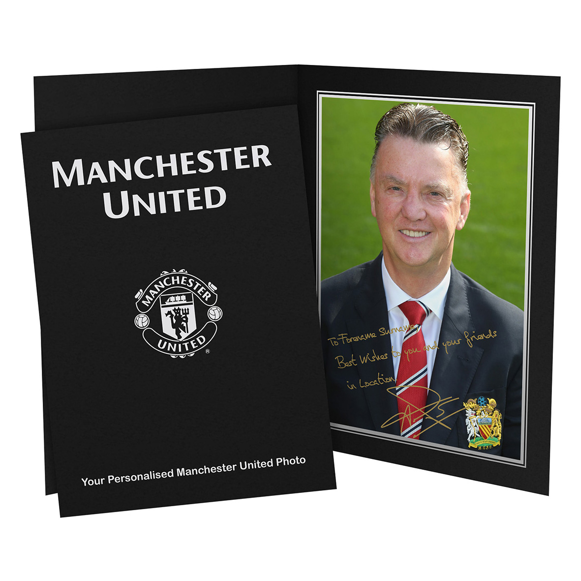 Manchester United Personalised Signature Photo in Presentation Folder - Van Gaal