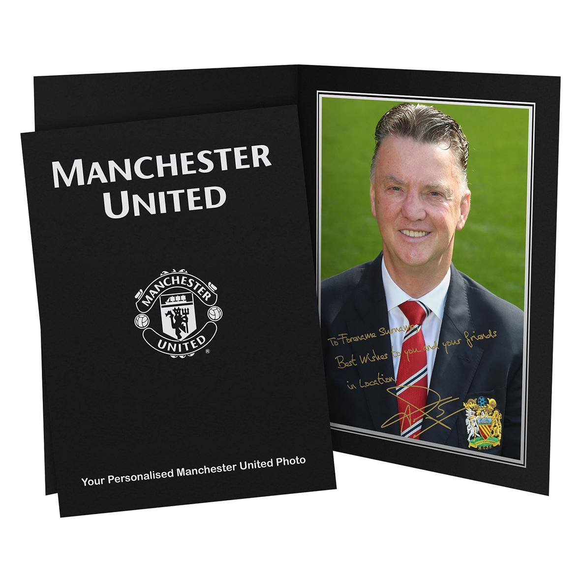 Manchester United Personalised Signature Photo in Presentation Folder - Van Gaal