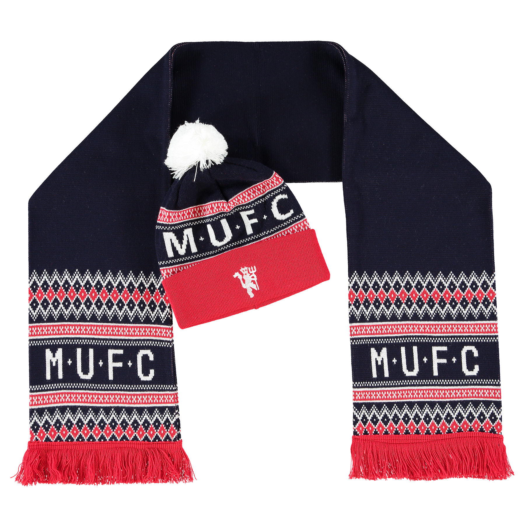 Manchester United Hat and Scarf Set - Navy/Red - Adult