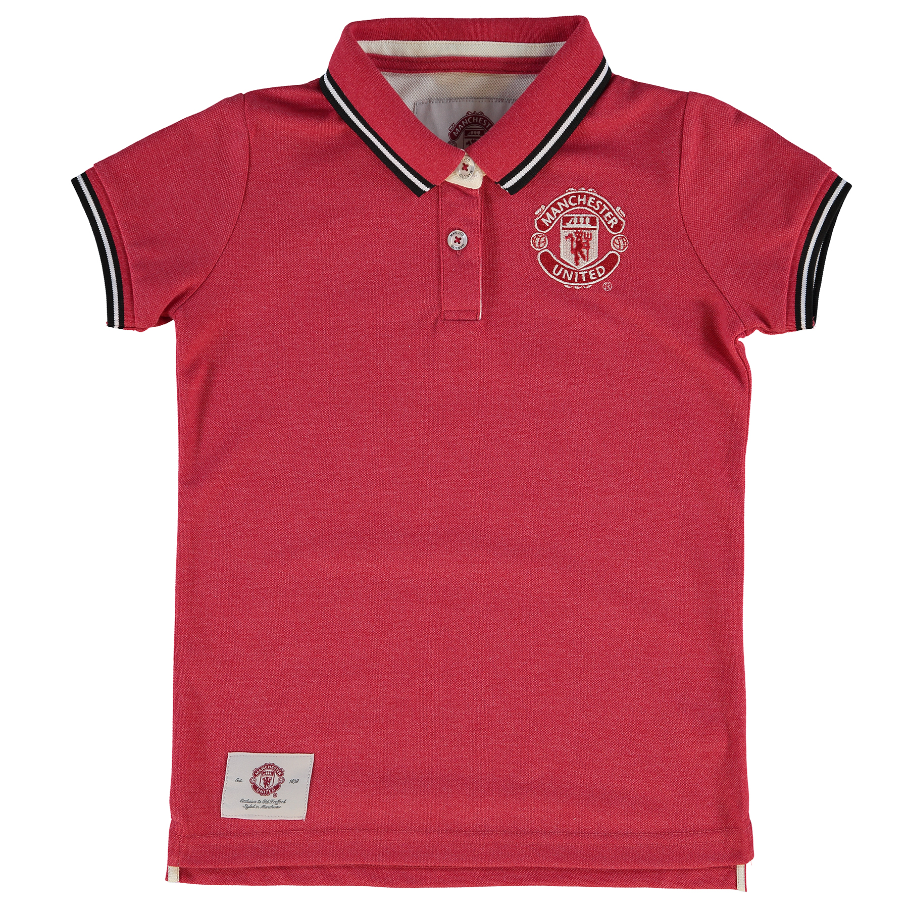 Manchester United Essential Tipped Polo Shirt - Red - Girls