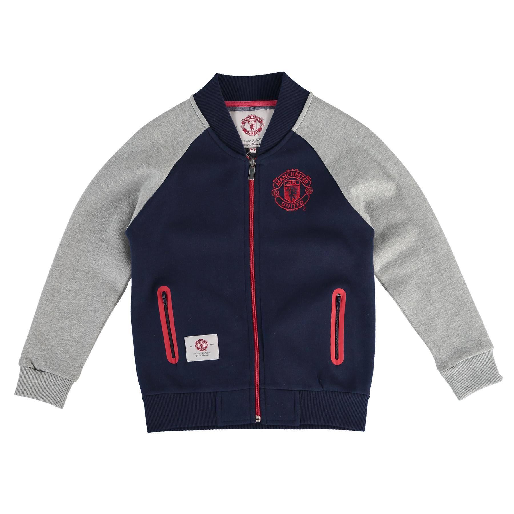 Manchester United Essential Baseball Jacket - Navy/Grey - Girls