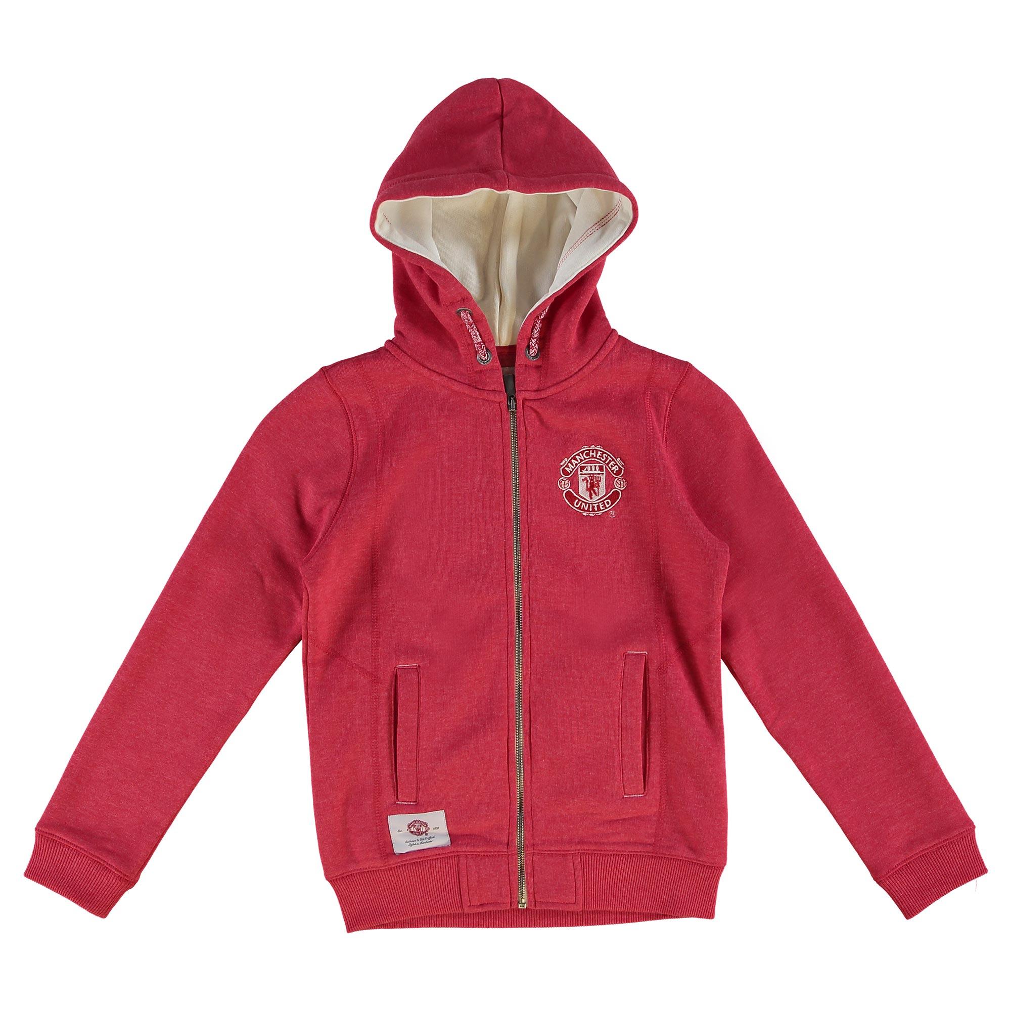 Manchester United Essential Zip Through Hoodie - Red Marl - Girls