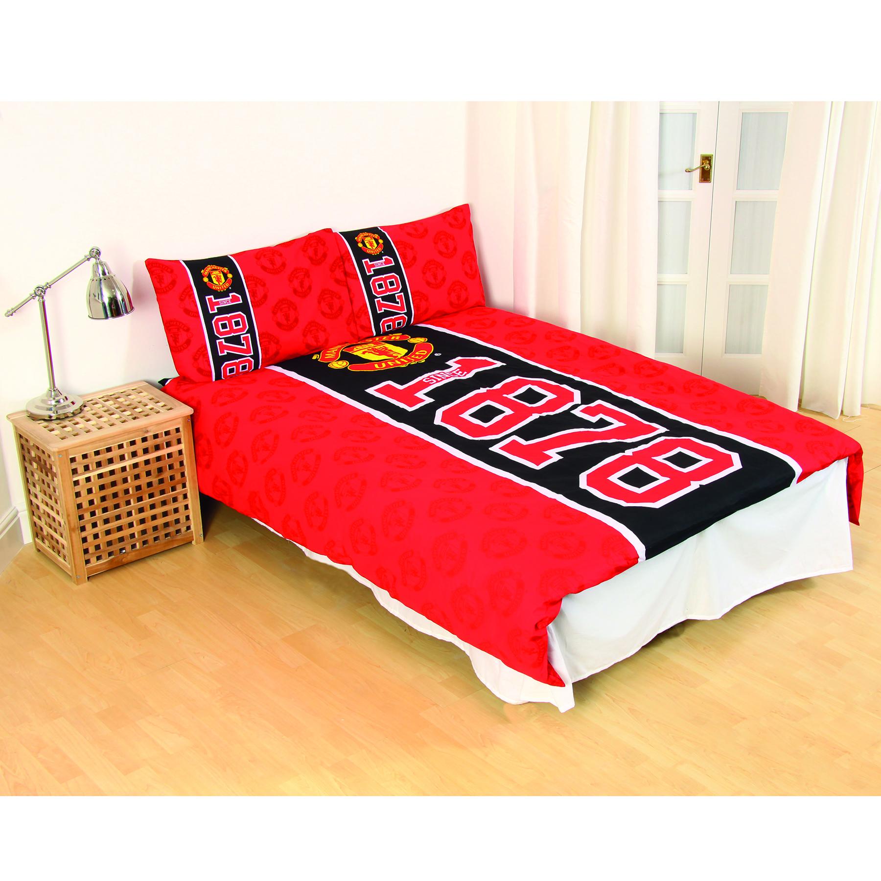 Parure de lit avec écusson Manchester United - Double