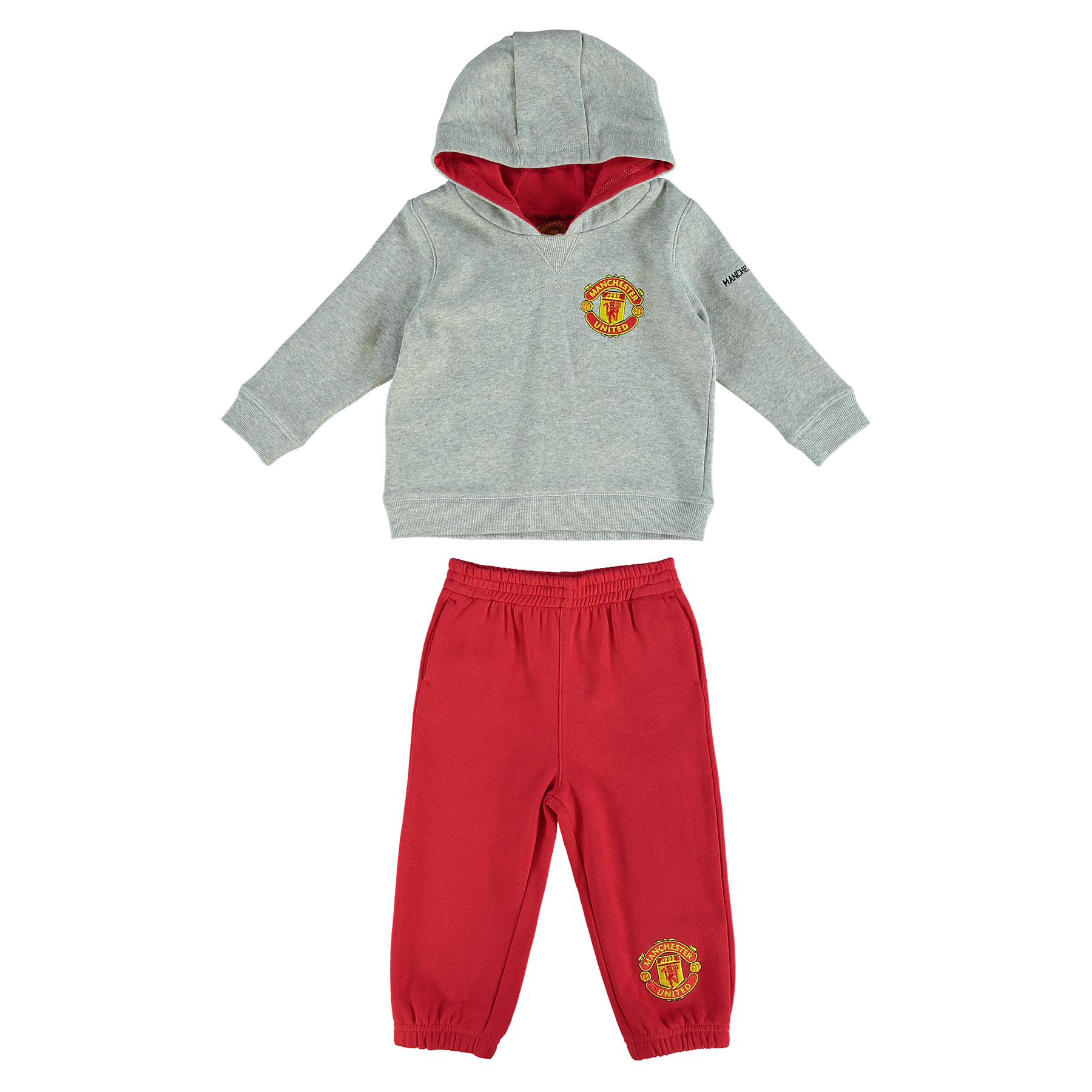 Manchester United Fleece Jog Suit - Grey Marl/Red - Baby