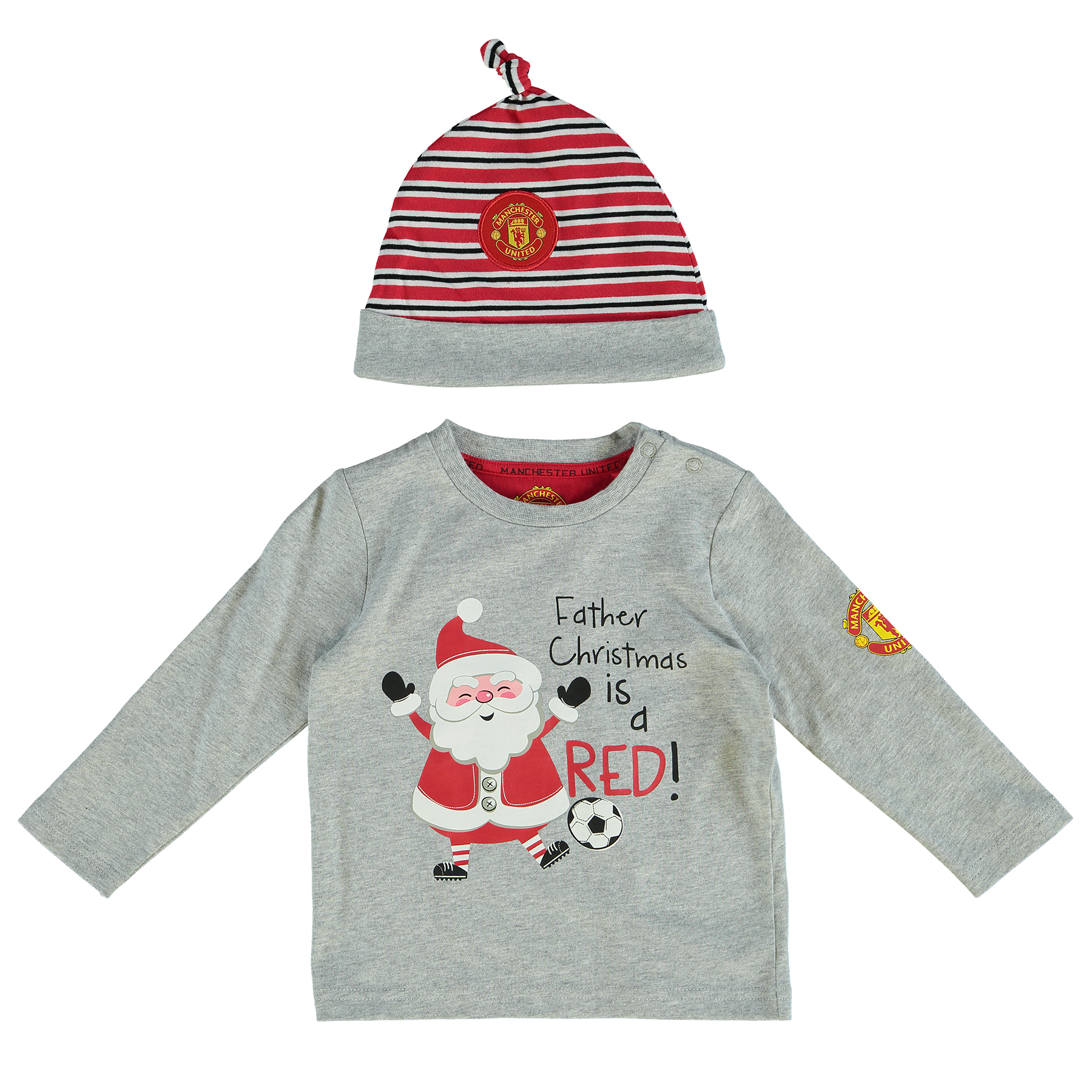 Manchester United Father Christmas Is Red T-Shirt and Hat Set - Grey M