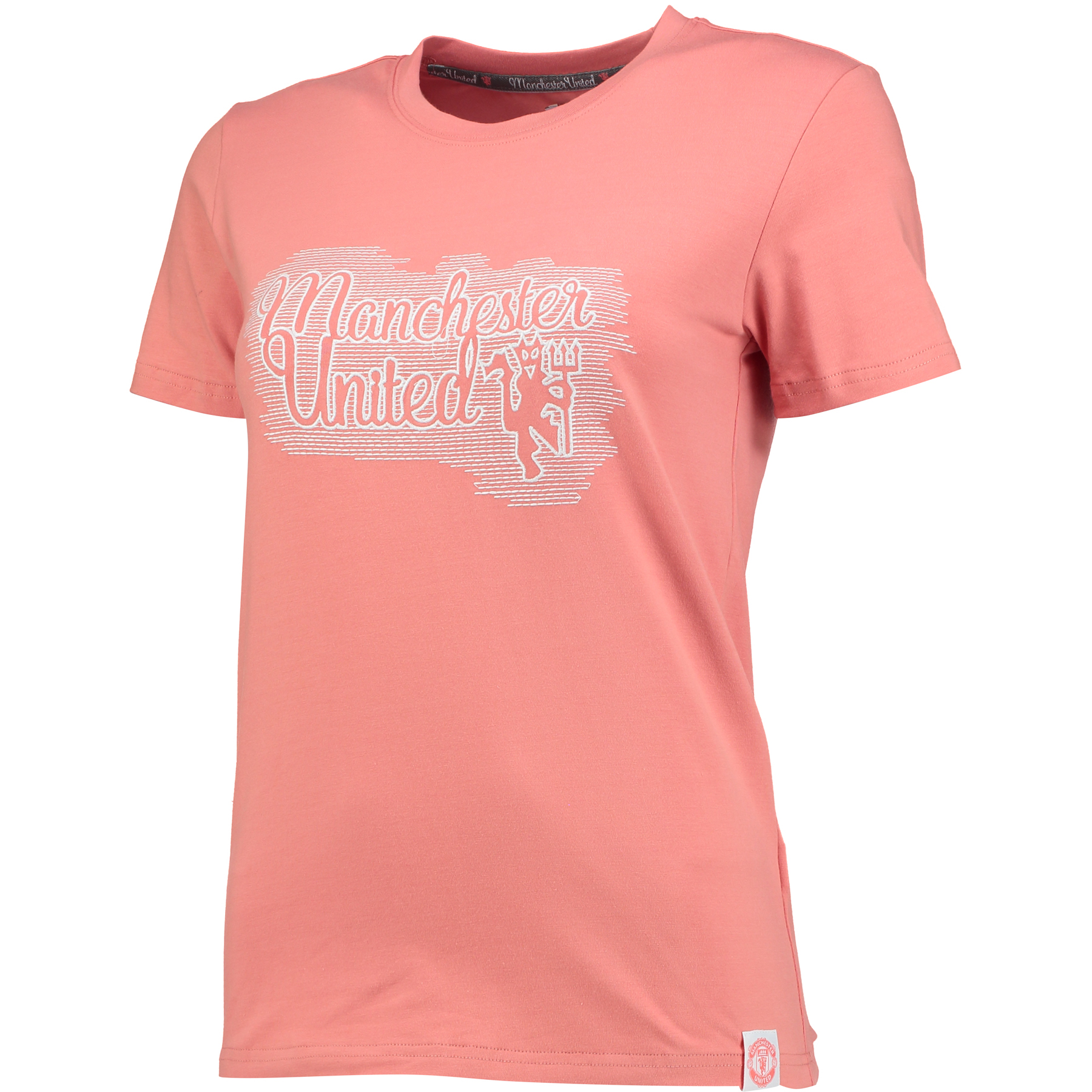 Manchester United Embroidered T-Shirt - Peach Echo - Womens