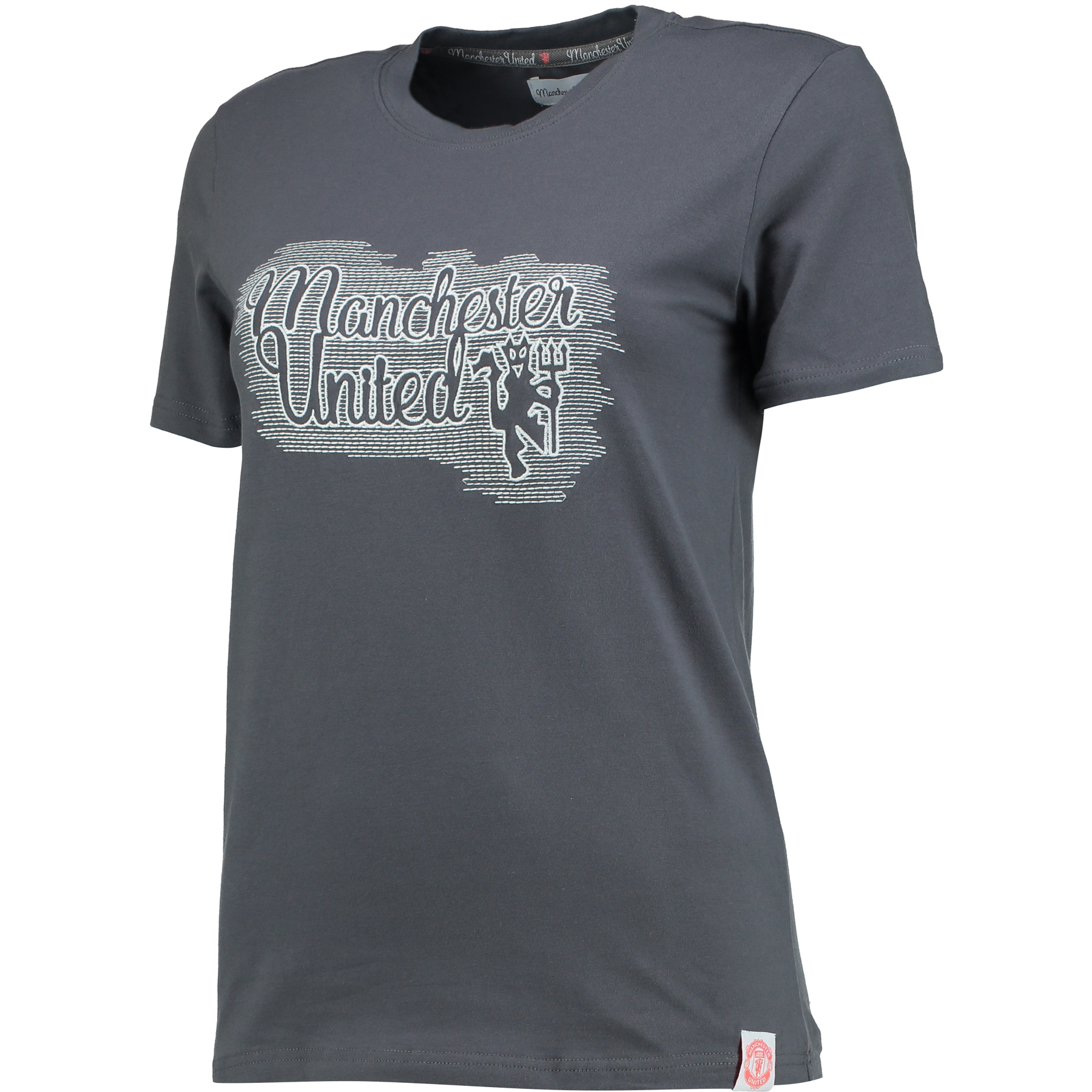 Manchester United Embroidered T-Shirt - Grey Heather - Womens