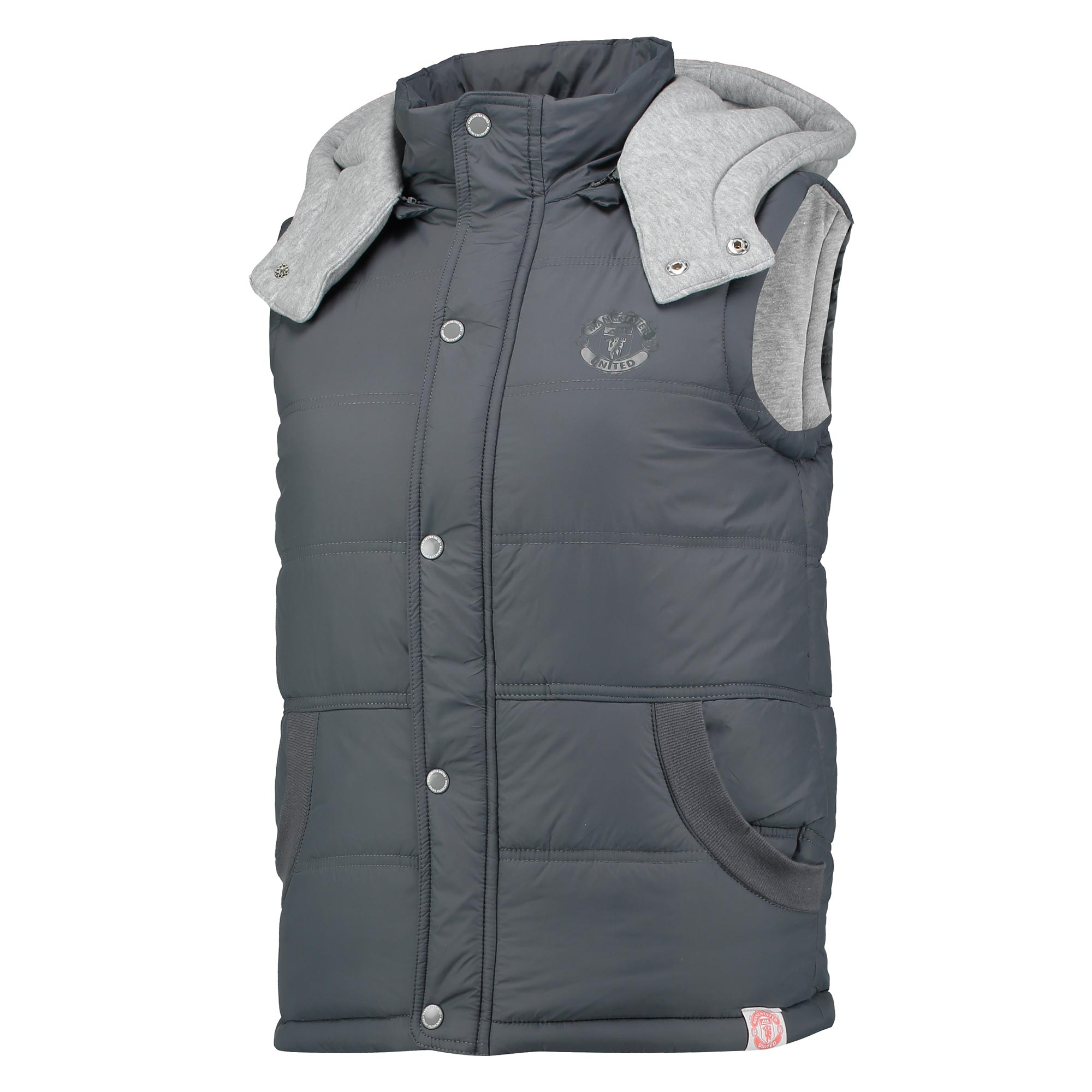 Manchester United Hooded Gilet - Grey Metal - Womens