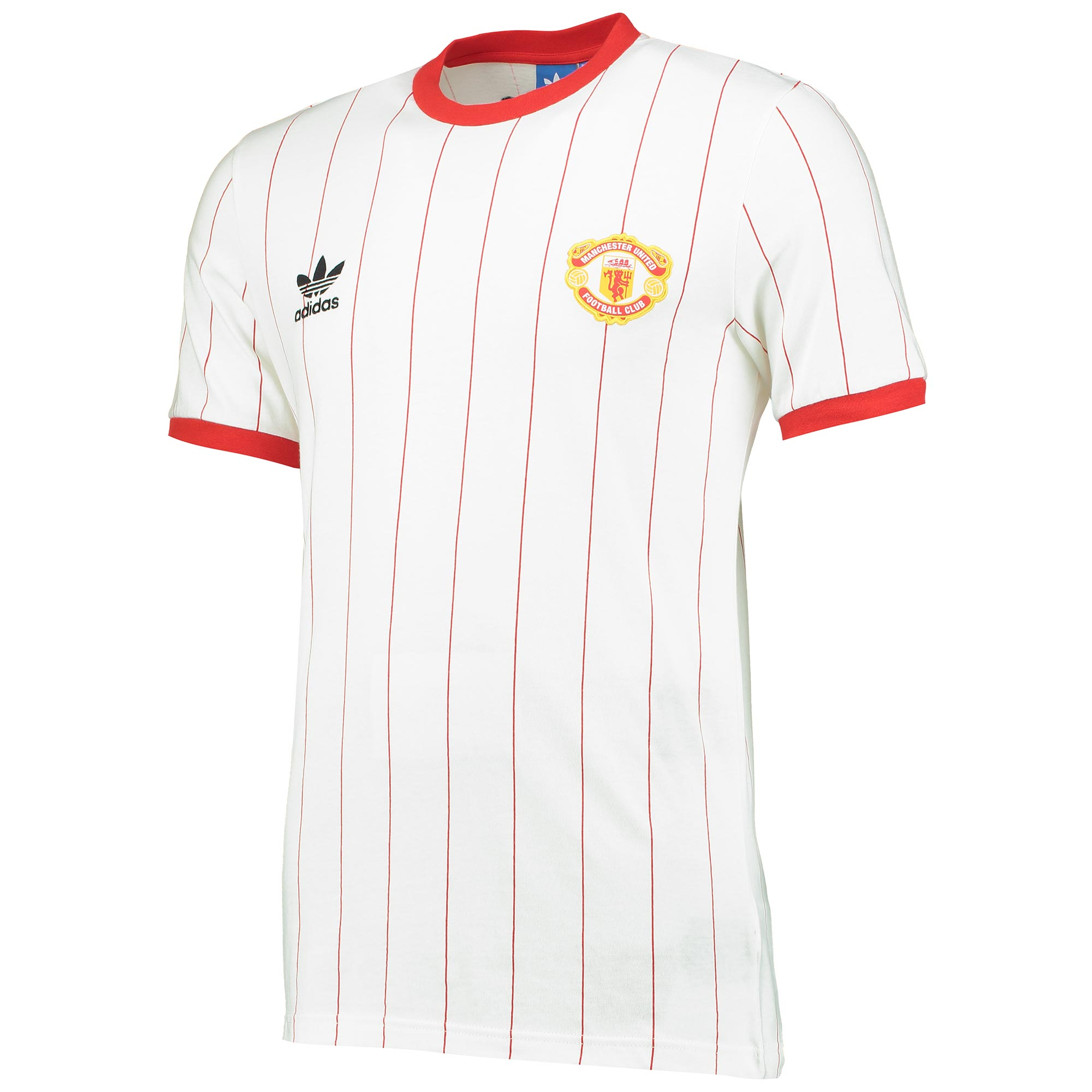 Manchester United Originals Pinstripe T-Shirt - White-Red