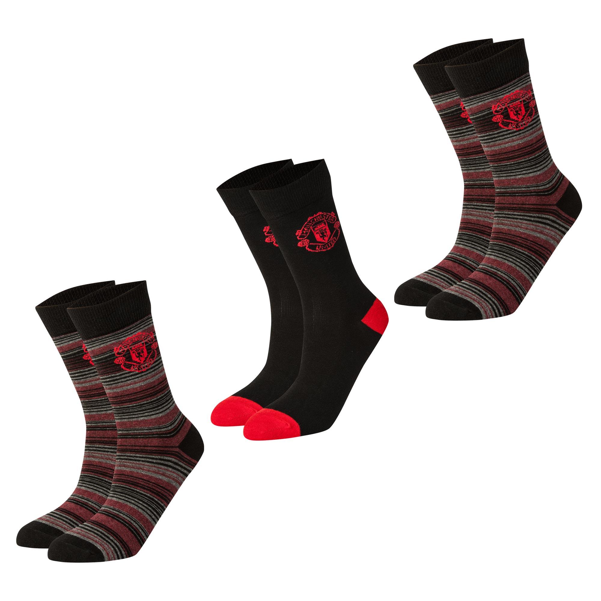 Manchester United 2 PK Crest Socks - Black/Red - Kids
