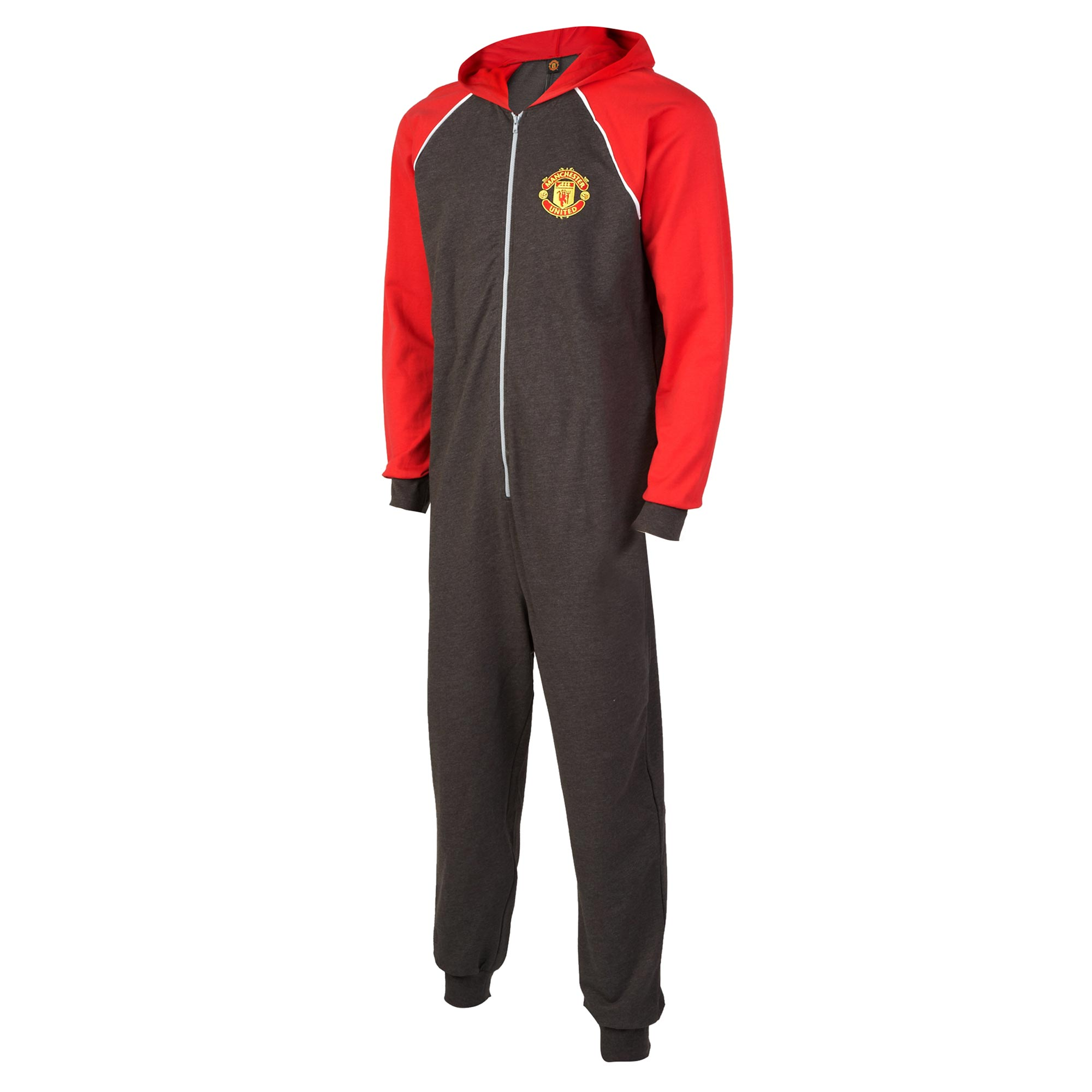 Manchester United Hooded Onesie - Charcoal Marl/Red - Mens