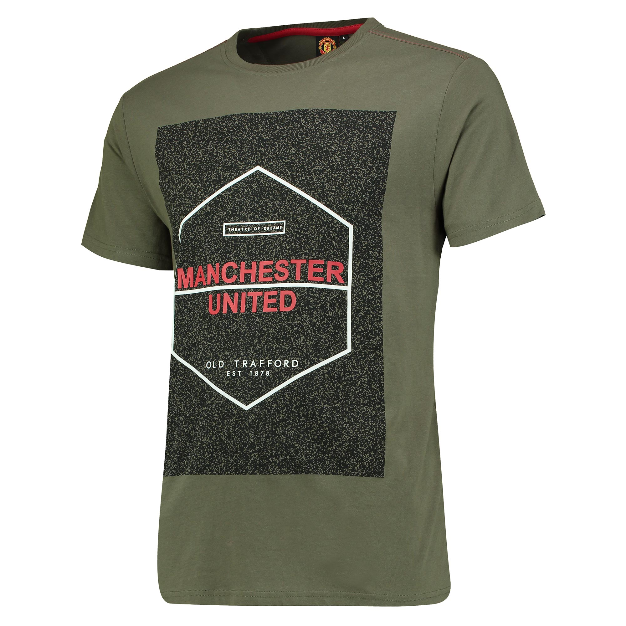 Manchester United Hexagon Graphic T-Shirt - Green Marl - Mens