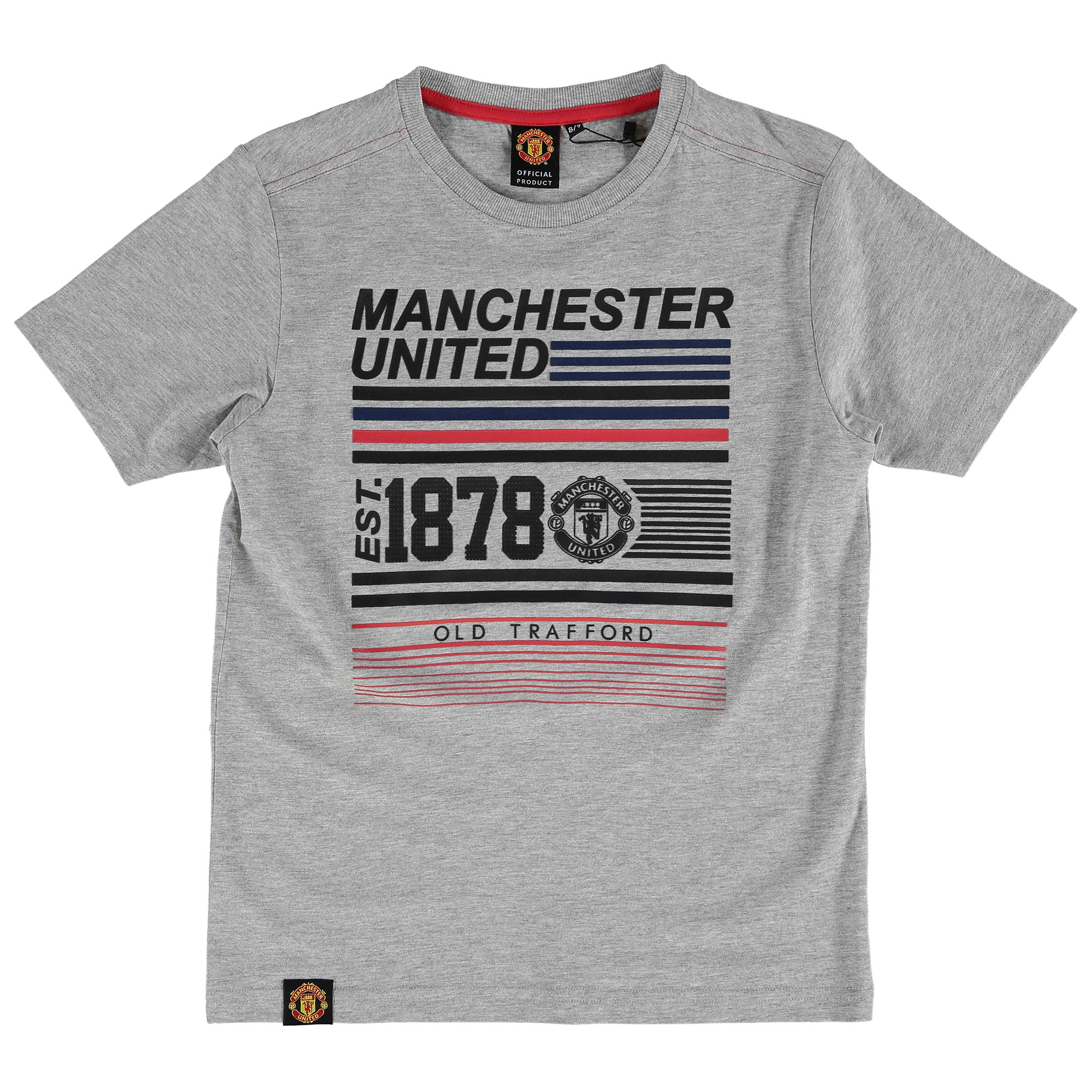 Manchester United 1878 Graphic T-Shirt - Charcoal Marl - Kids