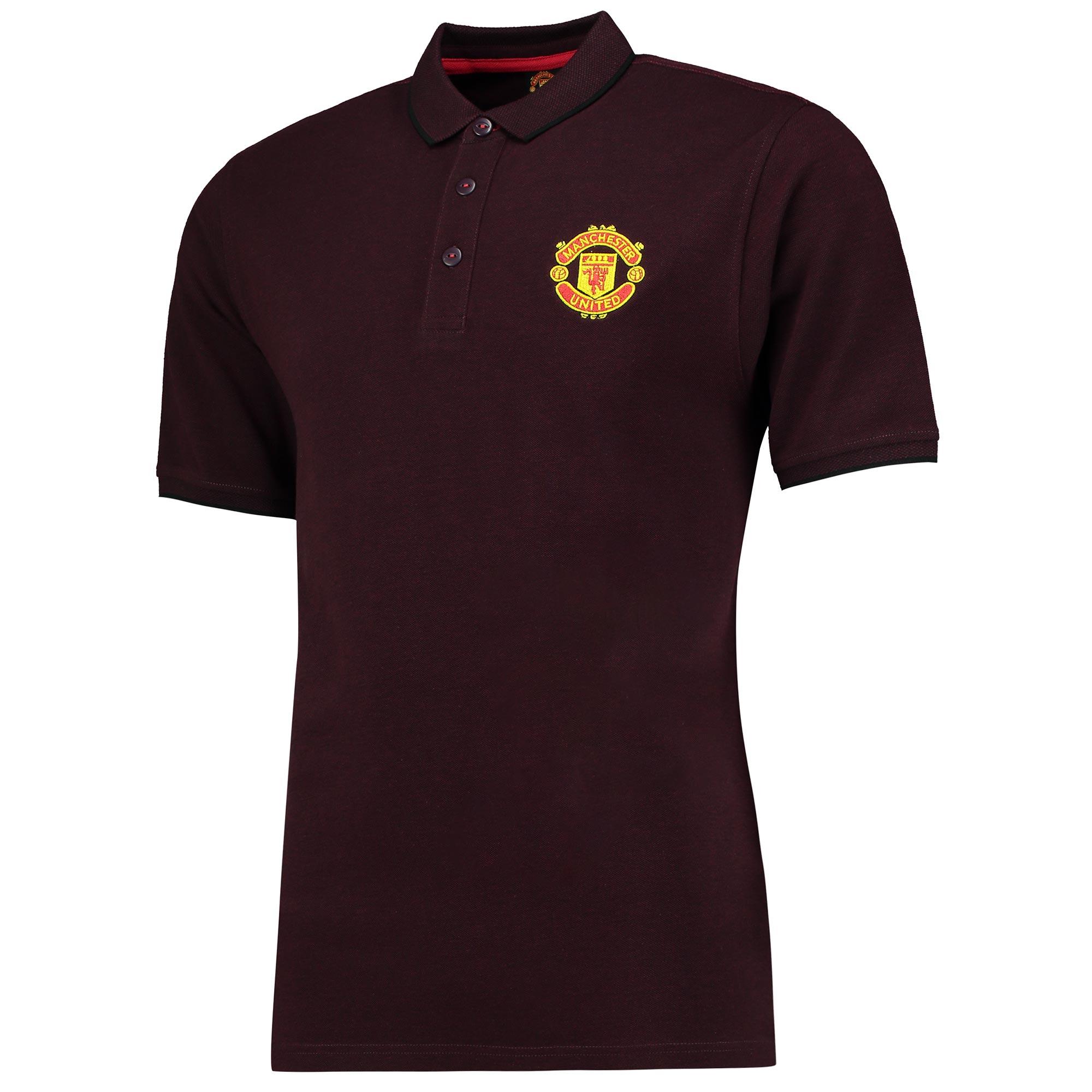Manchester United Essential Polo Shirt - Burgundy Marl - Mens