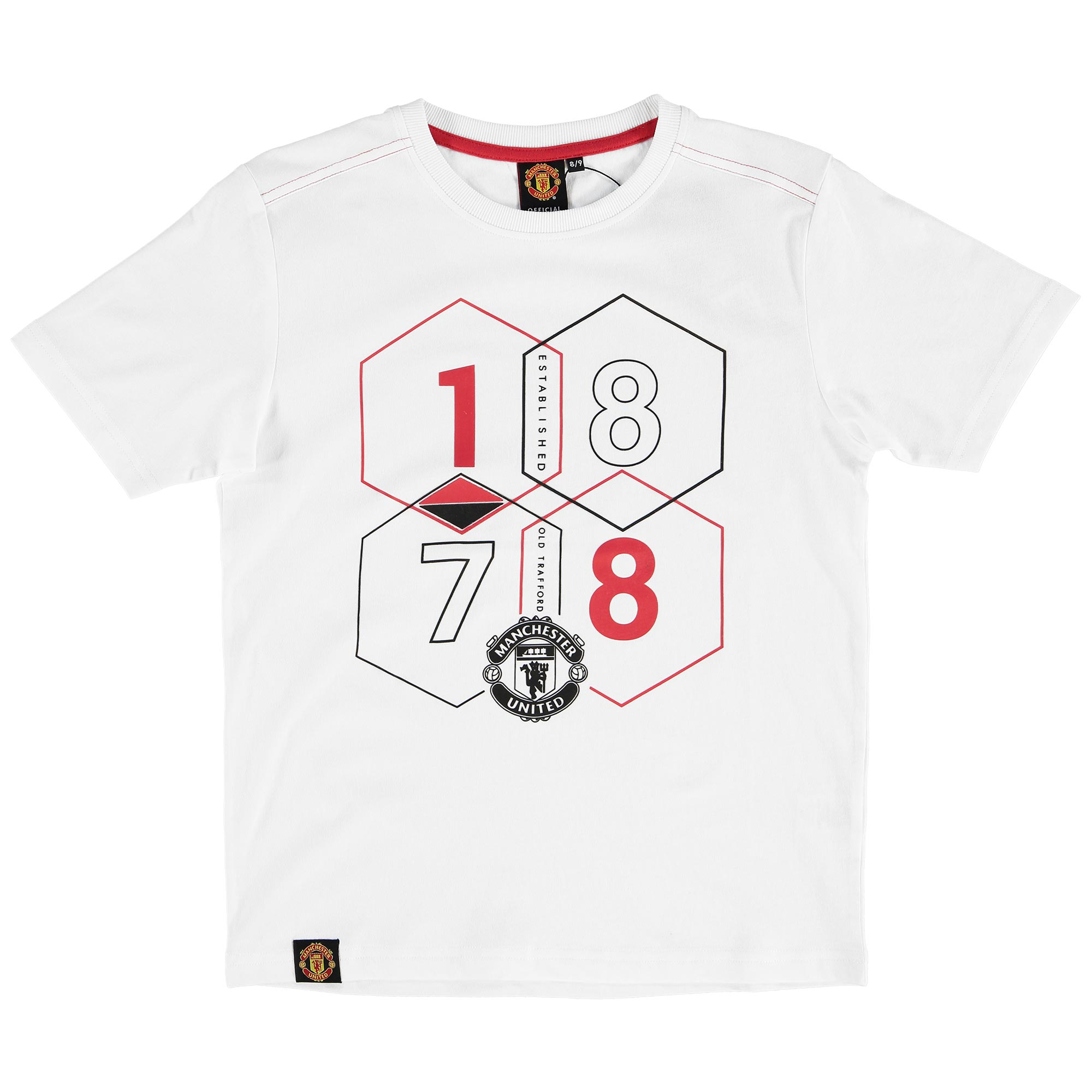 Manchester United Hexagon 1878 Graphic T-Shirt - White - Kids