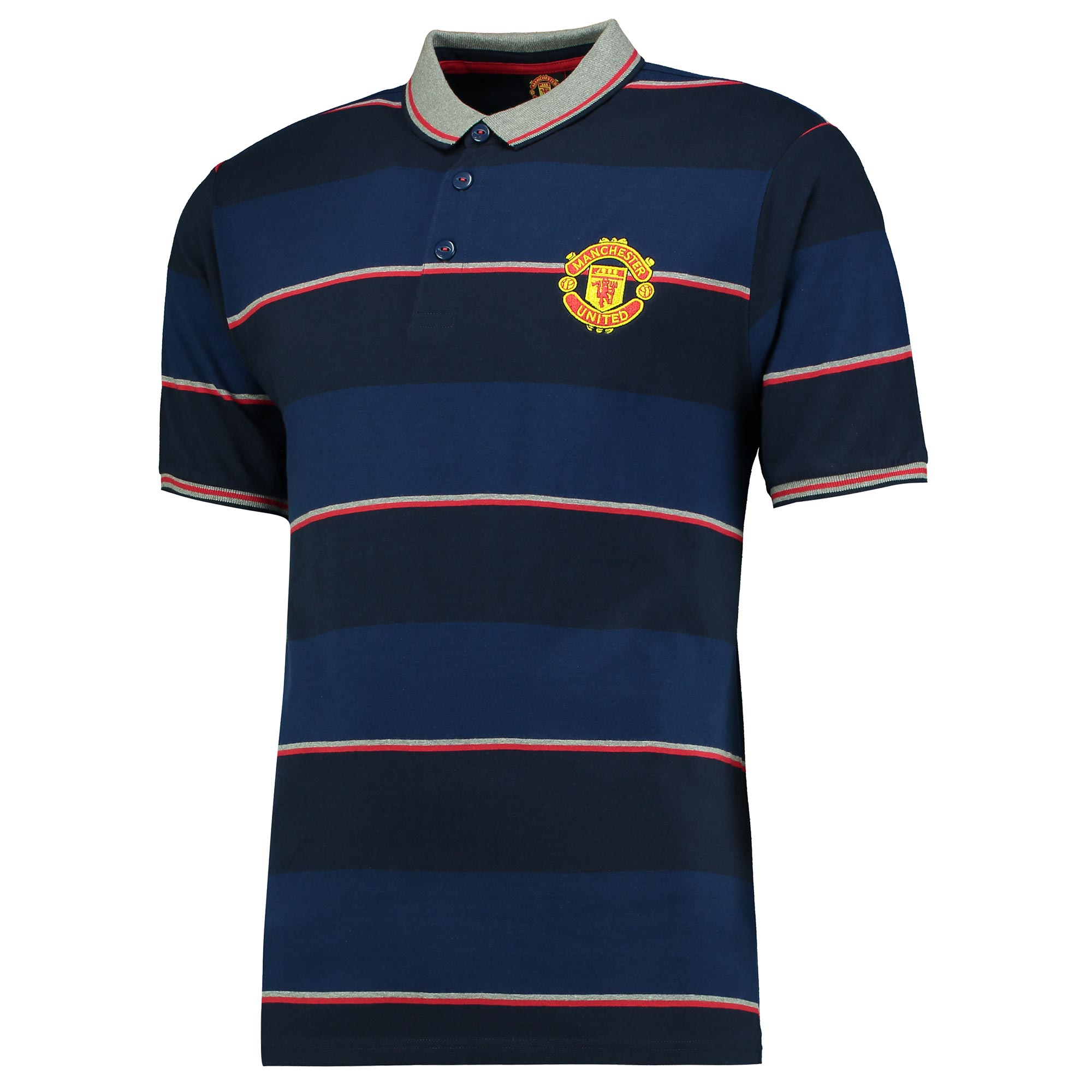 Manchester United Essential Stripe Polo Shirt - Navy - Mens