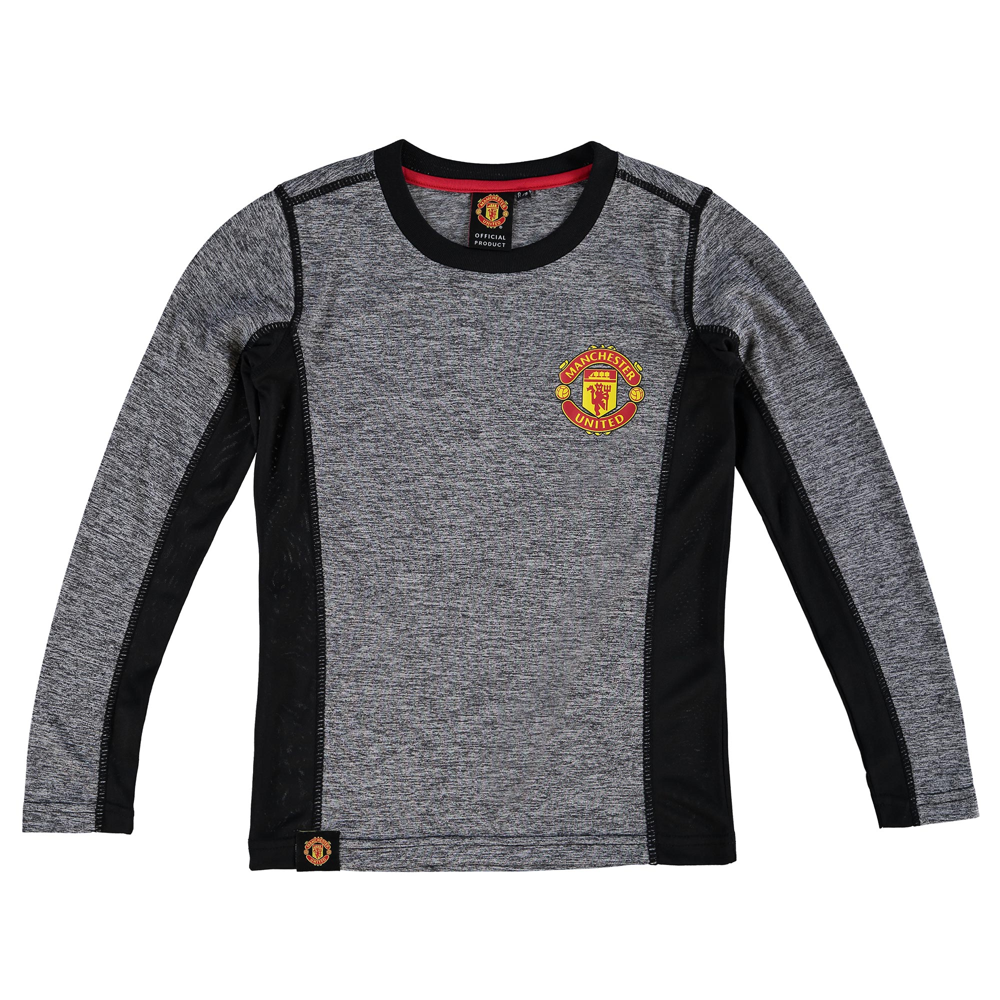 Manchester United Essential Long Sleeve Polyester T-Shirt - Charcoal -