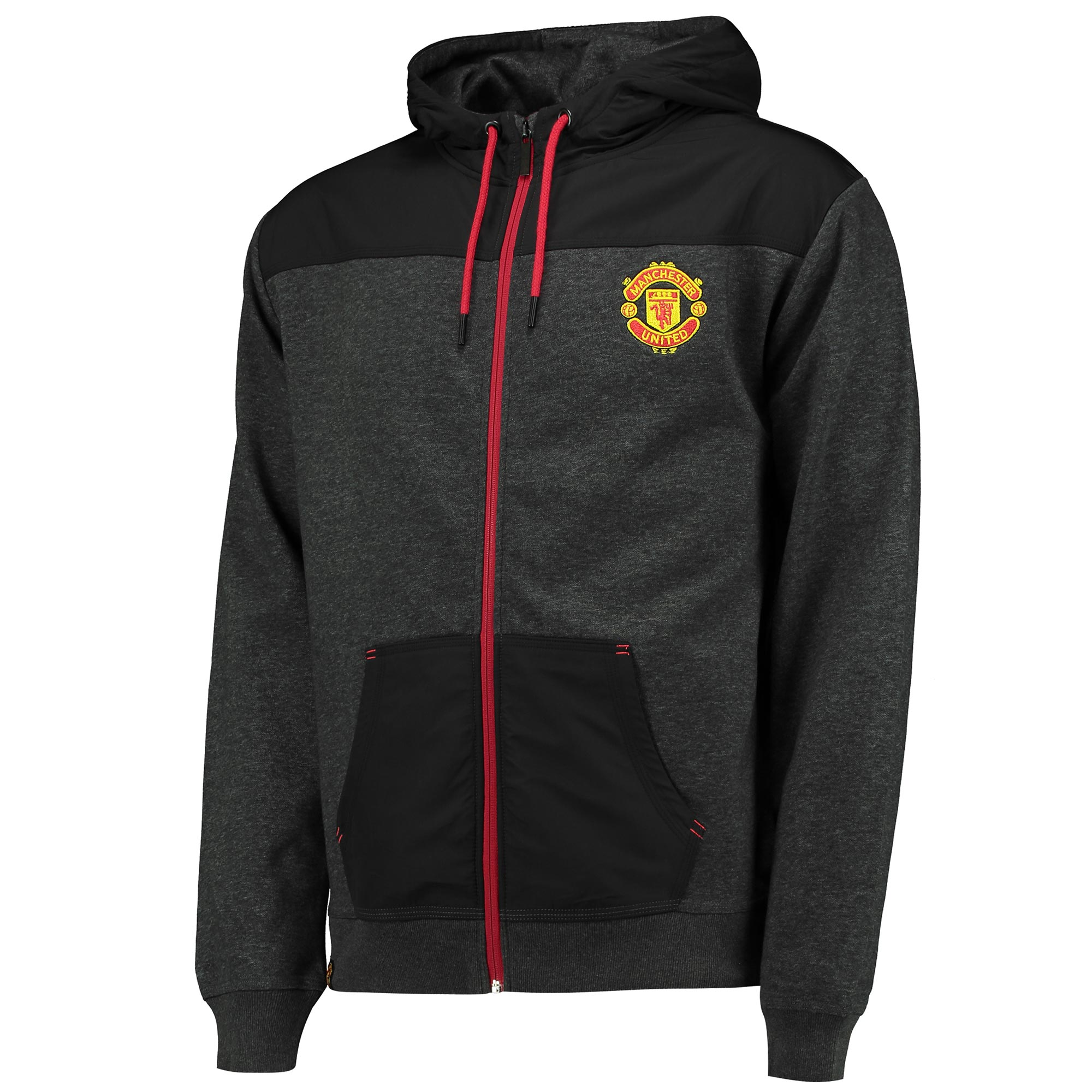 Manchester United Essential Full Zip Hoodie - Charcoal Marl - Mens