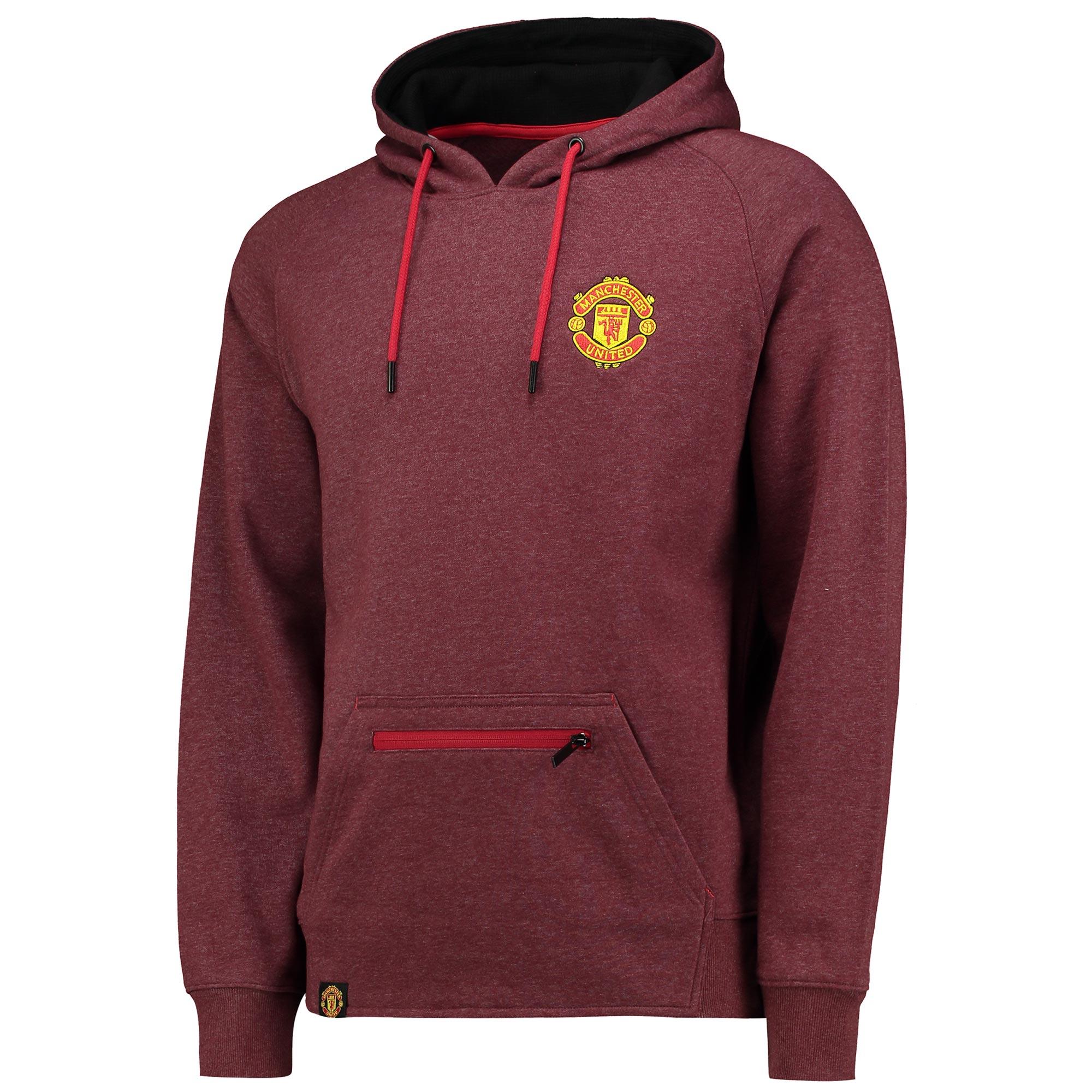 Manchester United Essential Hoodie - Burgundy Marl - Mens
