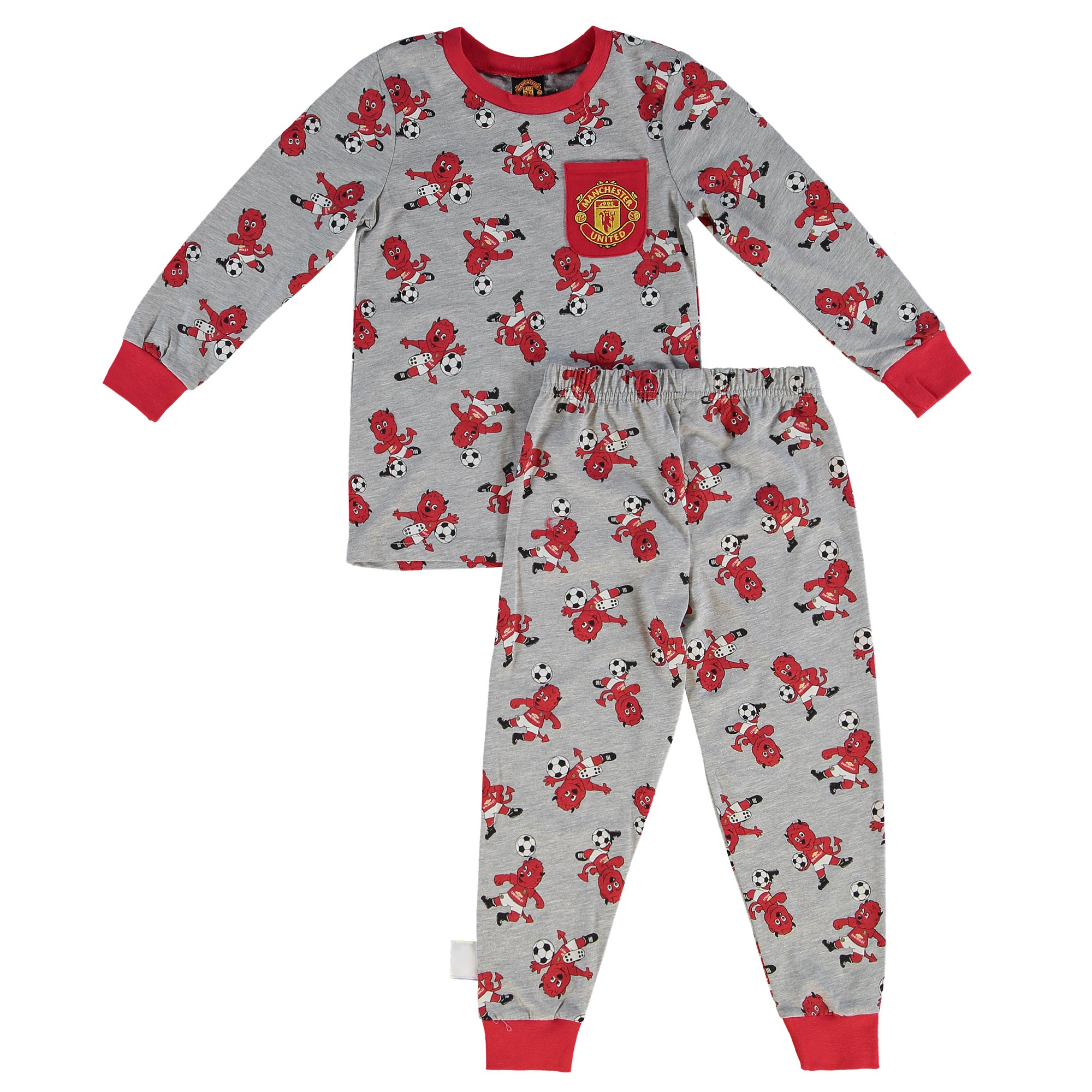 Manchester United Fred The Red Snuggle Fit Pyjamas - Grey Marl - Infan