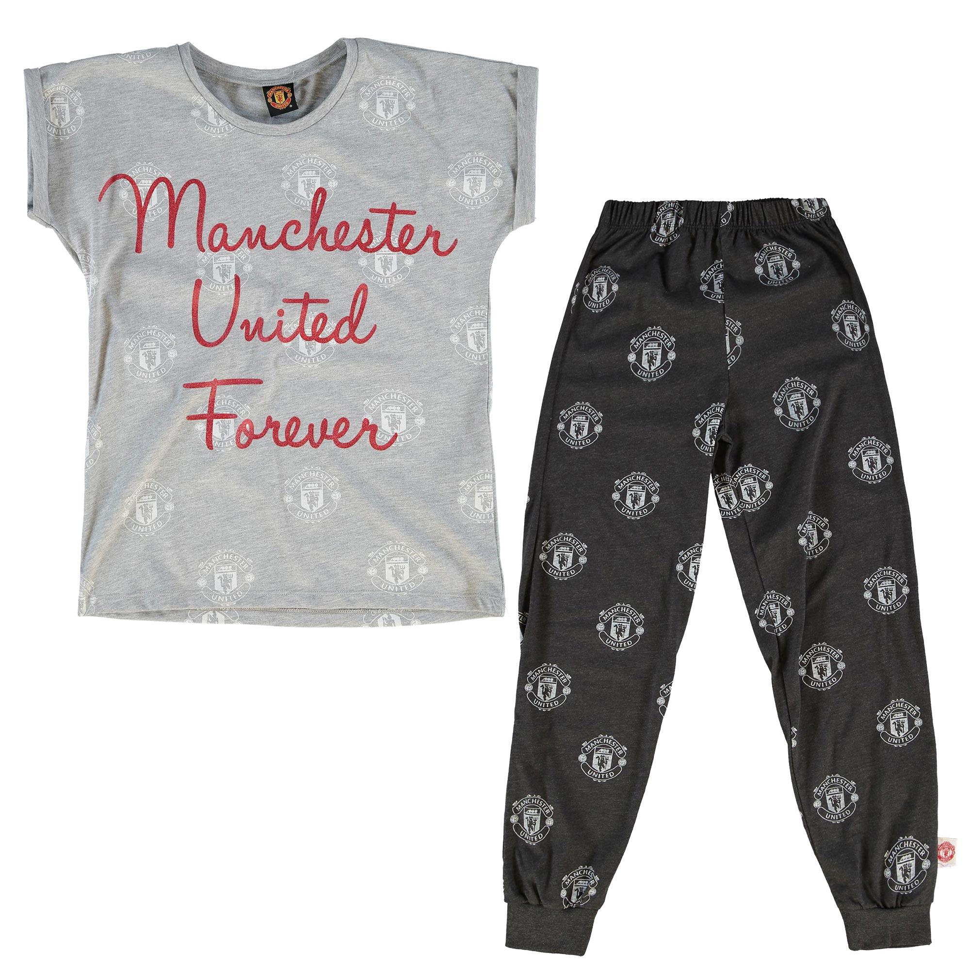 Manchester United Forever Pyjamas - Grey Marl/Charcoal Marl - Older Gi