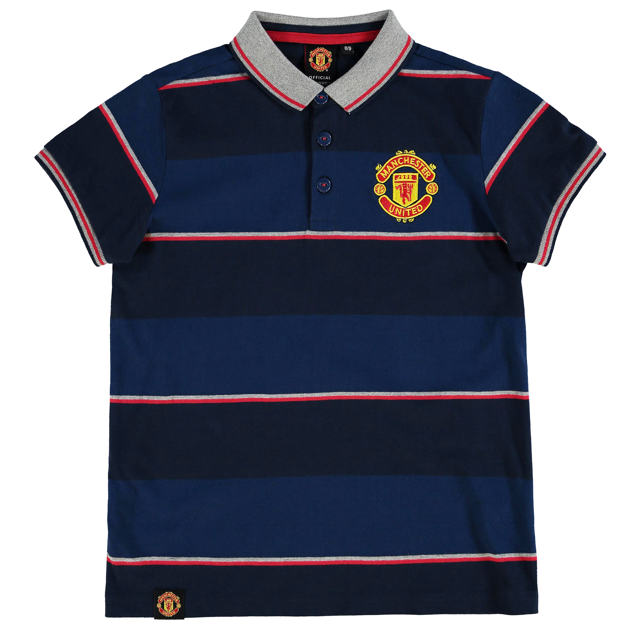 Manchester United Essential Stripe Polo Shirt - Navy - Kids