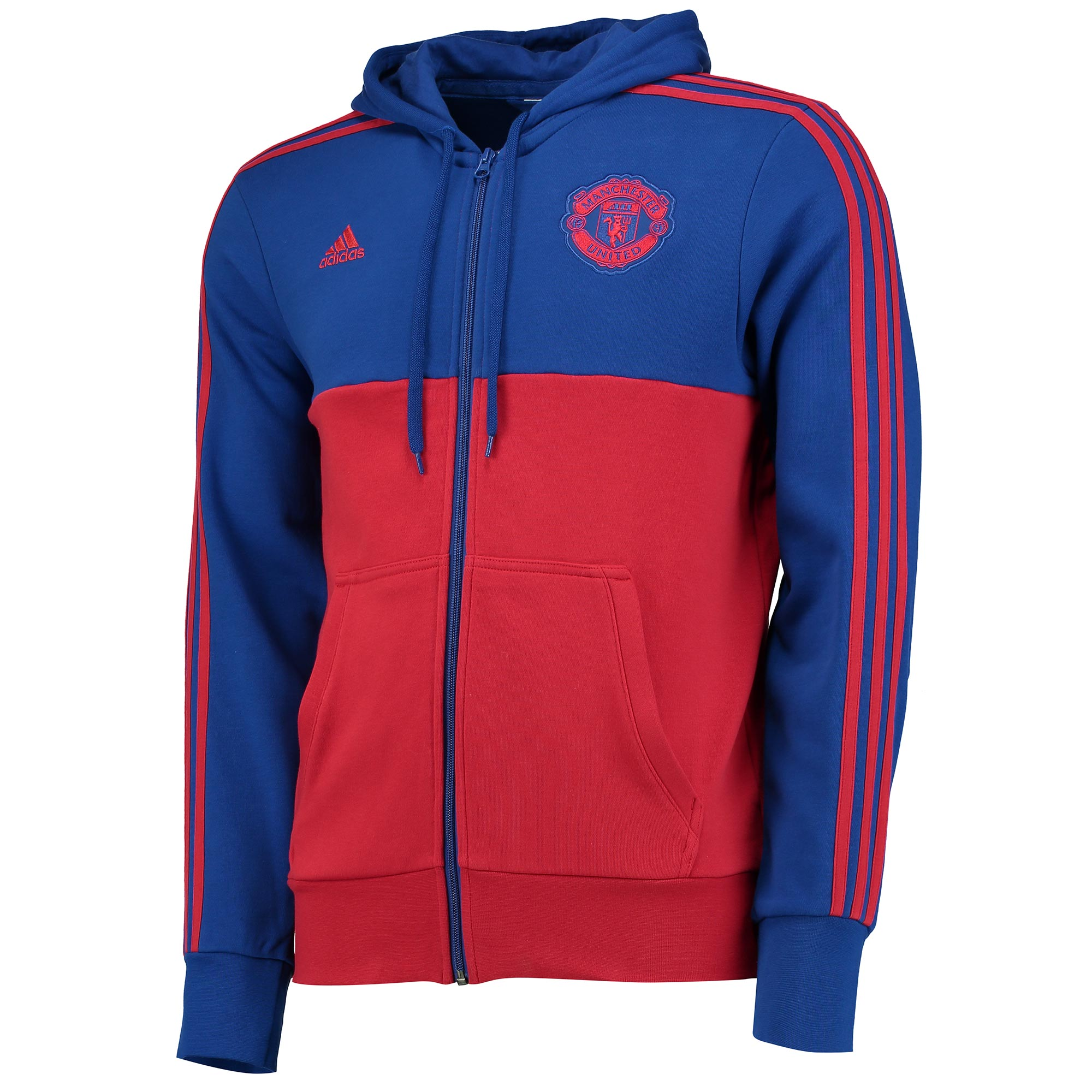 Manchester United 3 Stripe Full Zip Hoodie - Royal Blue