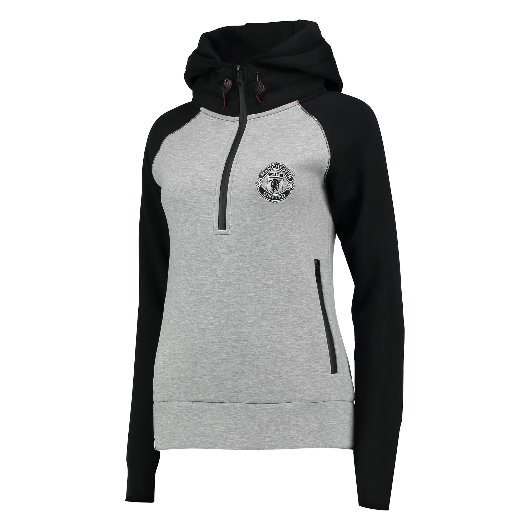 Manchester United 1/2 Zip Hoodie - Grey Marl/Black - Womens