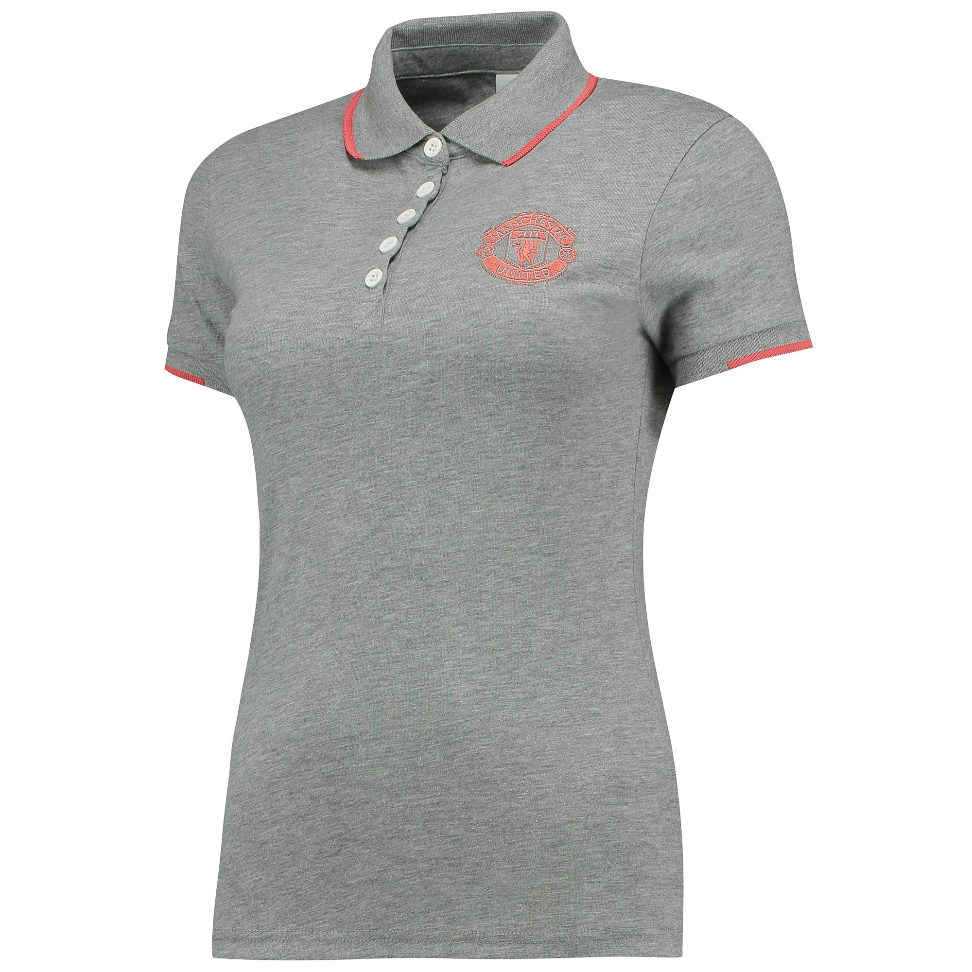 Manchester United Tipped Polo Shirt - Grey Marl - Women s