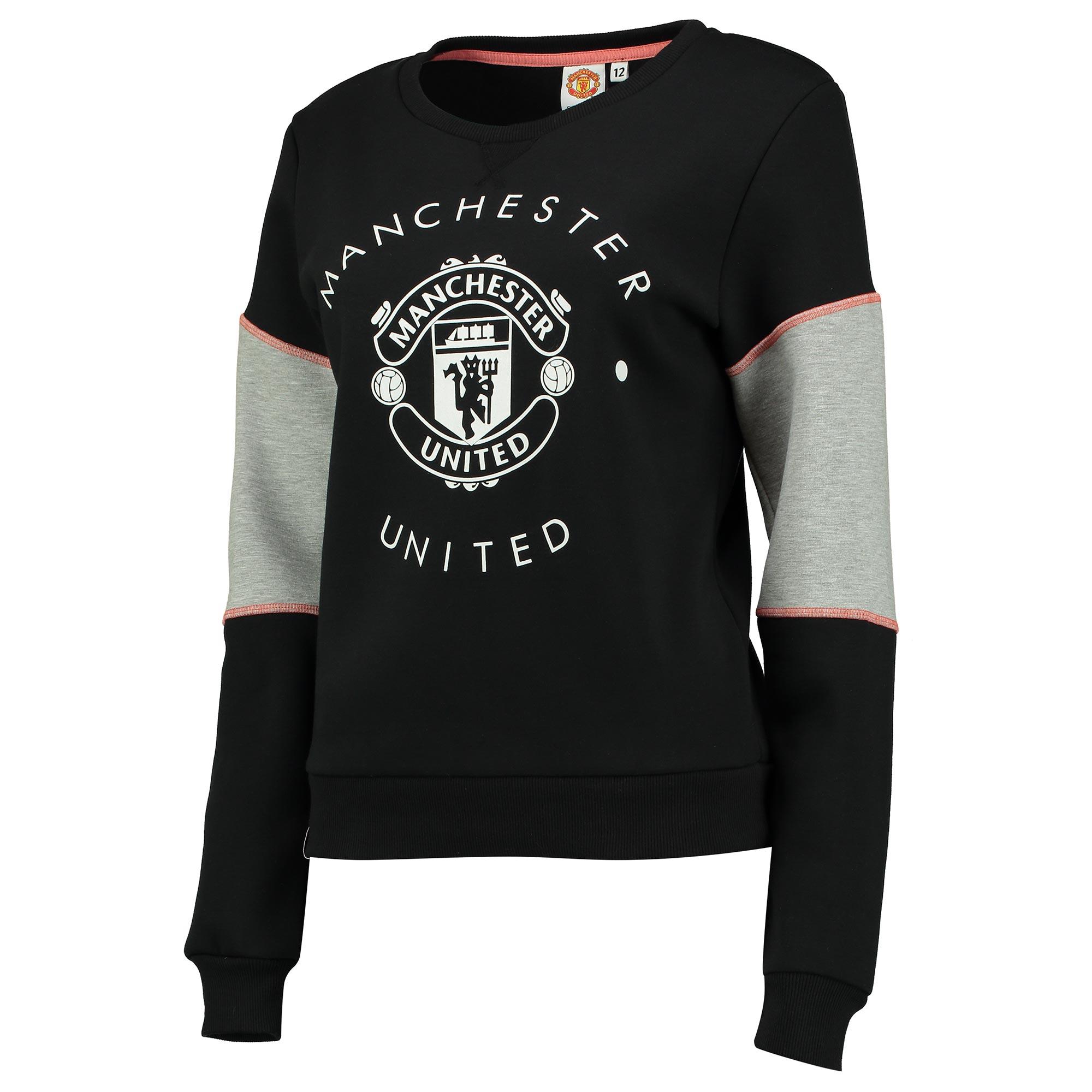 Pull ras du cou avec écusson Manchester United - Noir - Femme