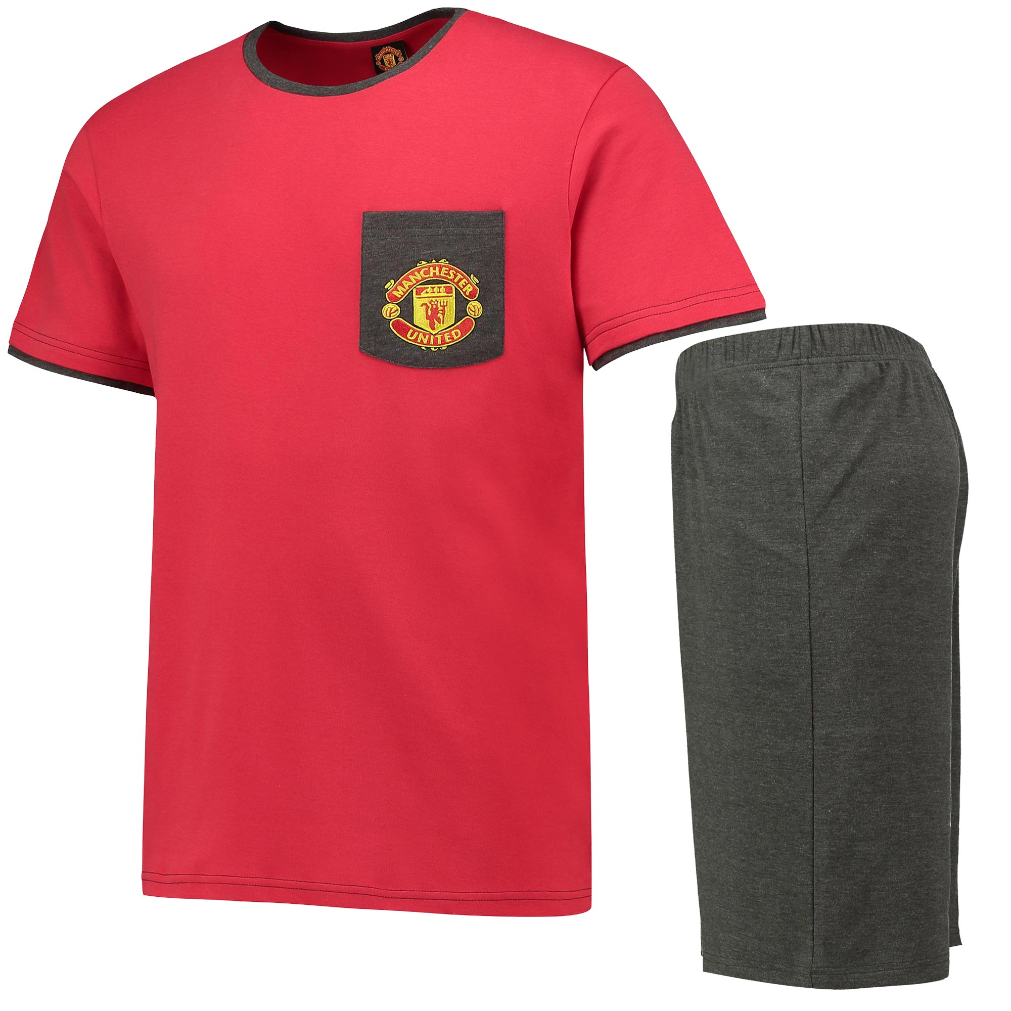 Manchester United Crest Shortie Pyjamas - Red/Grey Marl - Mens
