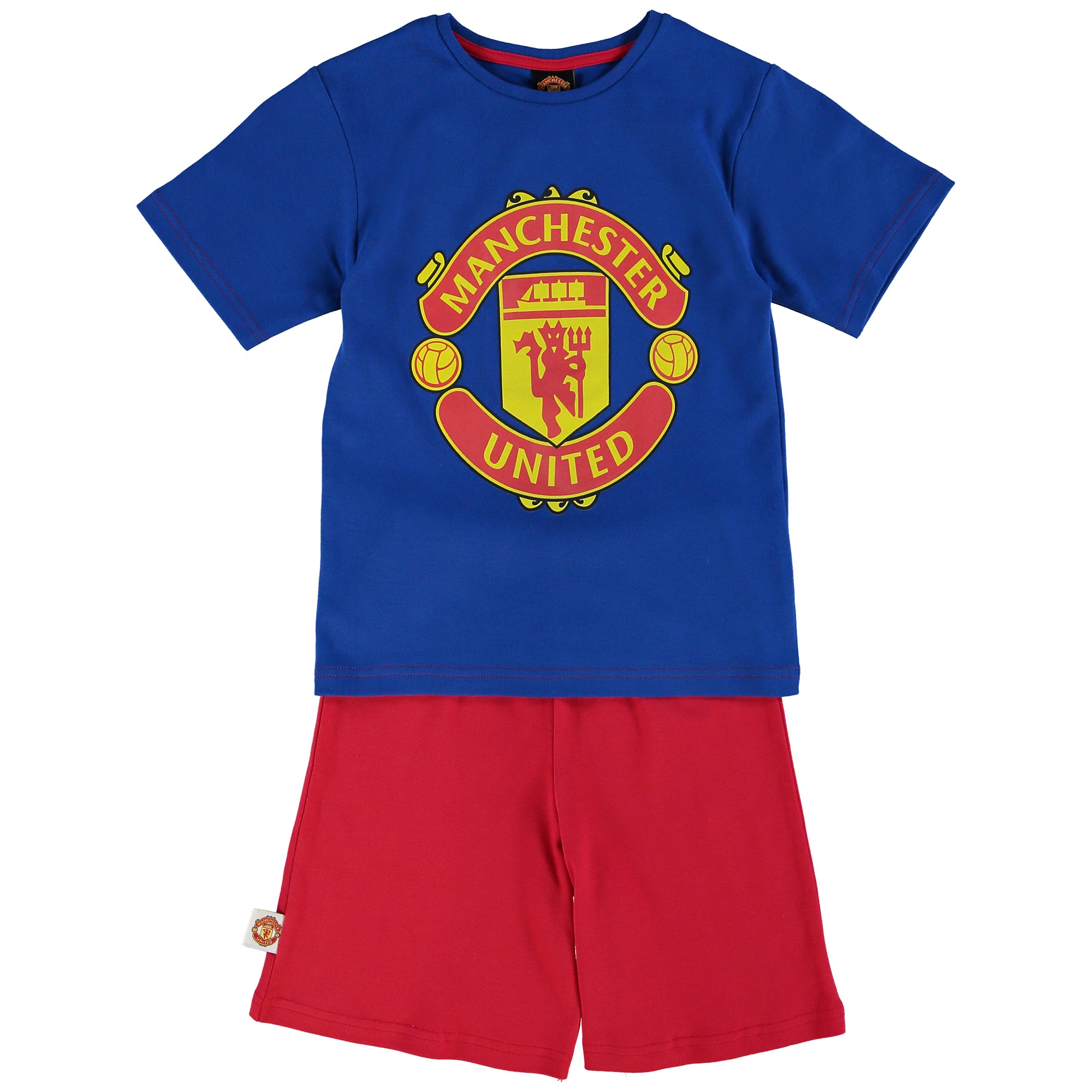 Manchester United Crest Shortie Pyjamas - Royal/Red - Boys