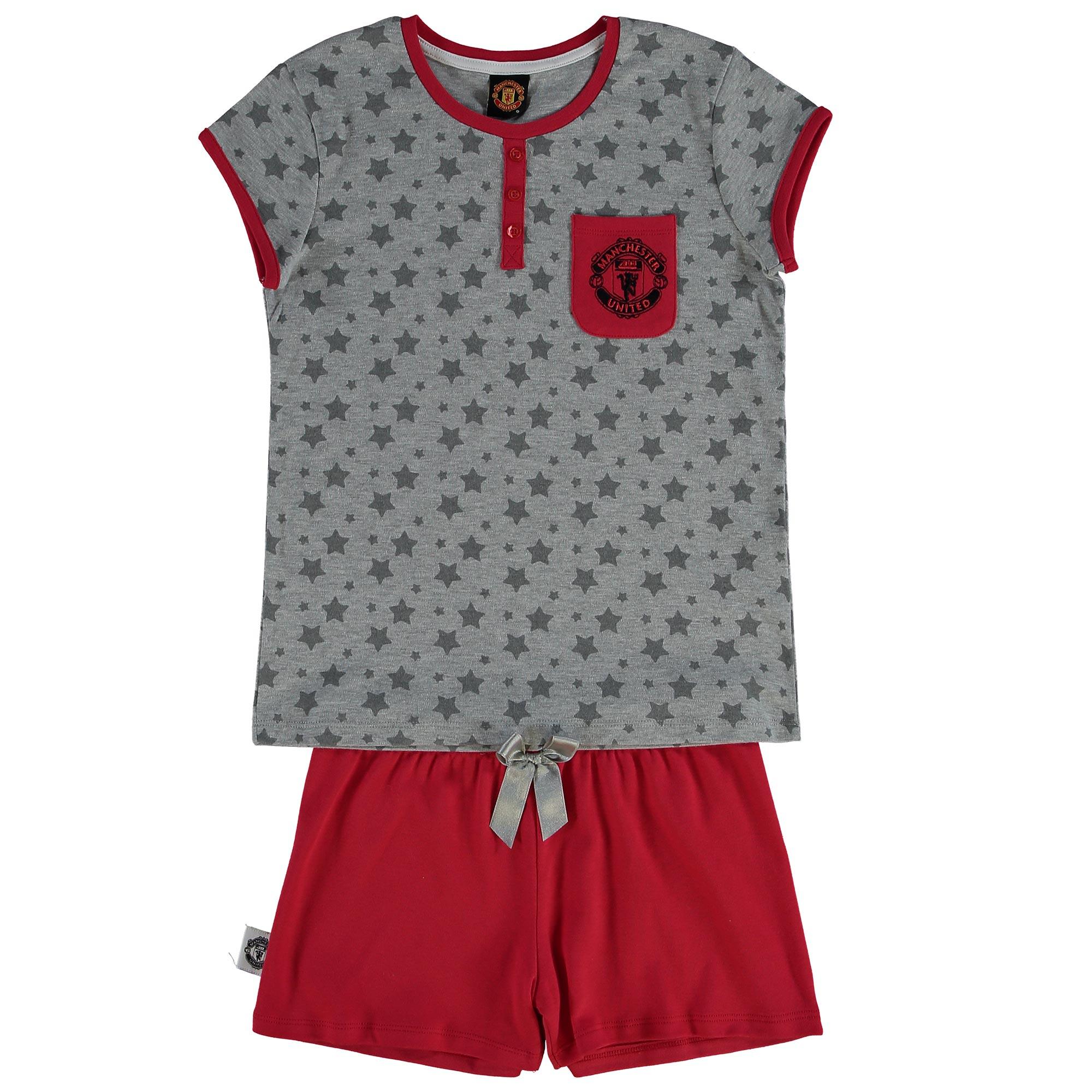 Manchester United Star Print Shortie Pyjamas - Grey Marl/Red - Older G