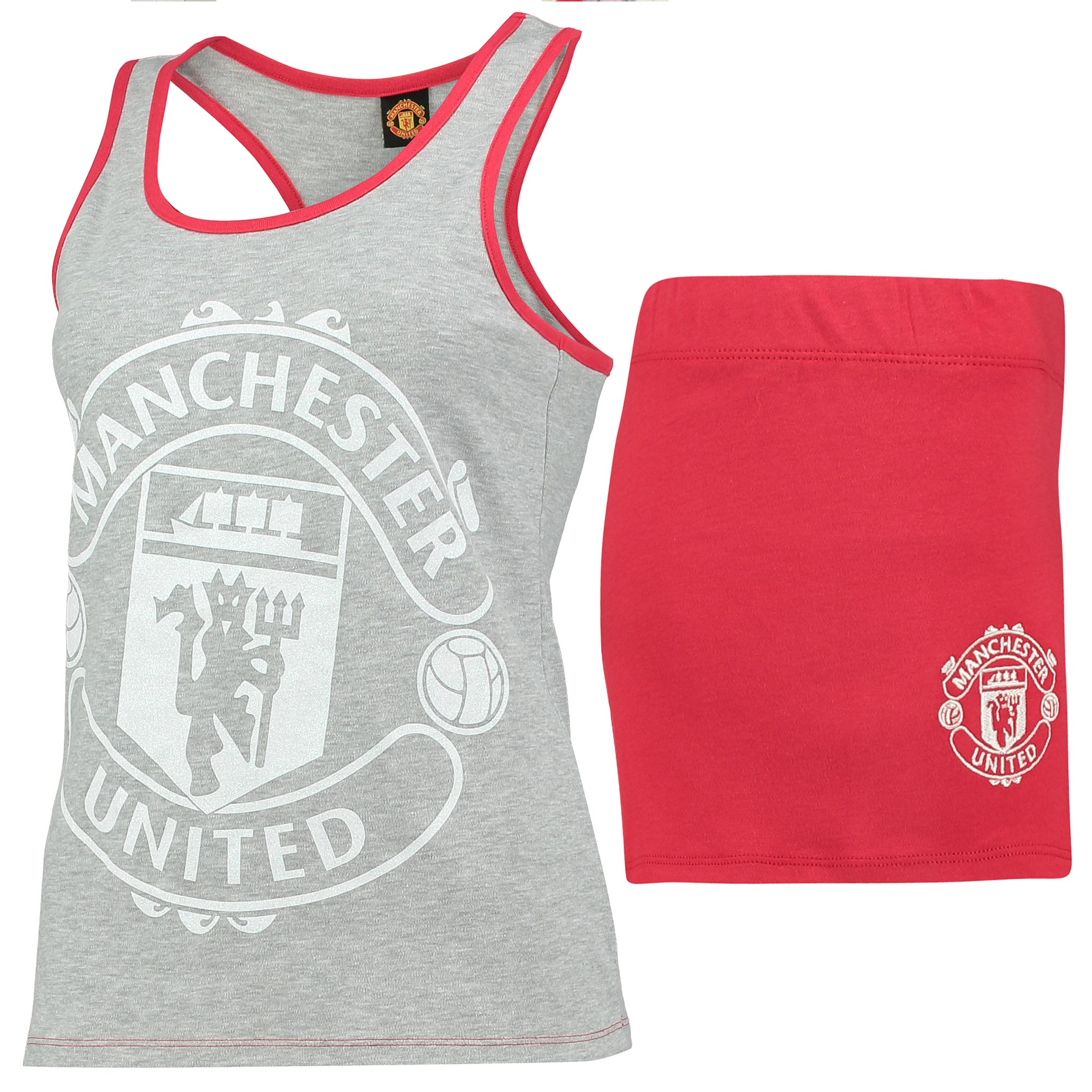 Manchester United Crest Shortie Pyjamas - Grey Marl/Red - Womens