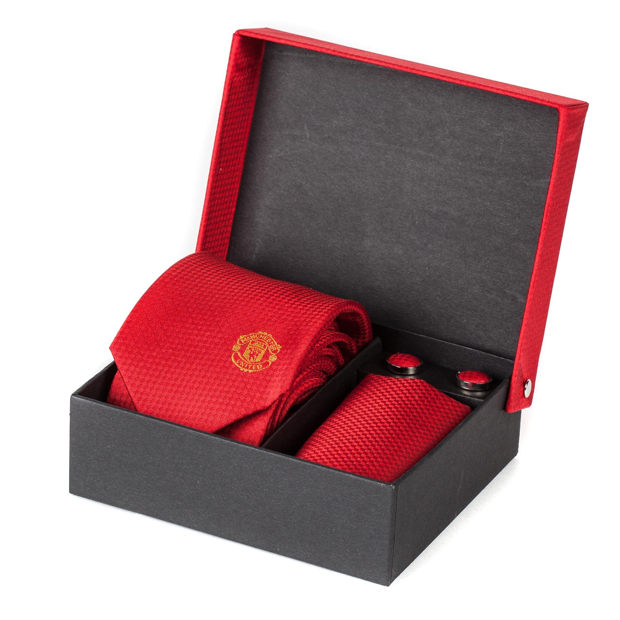 Manchester United Crest Tie-Cufflink-Handkerchief Set - Silk