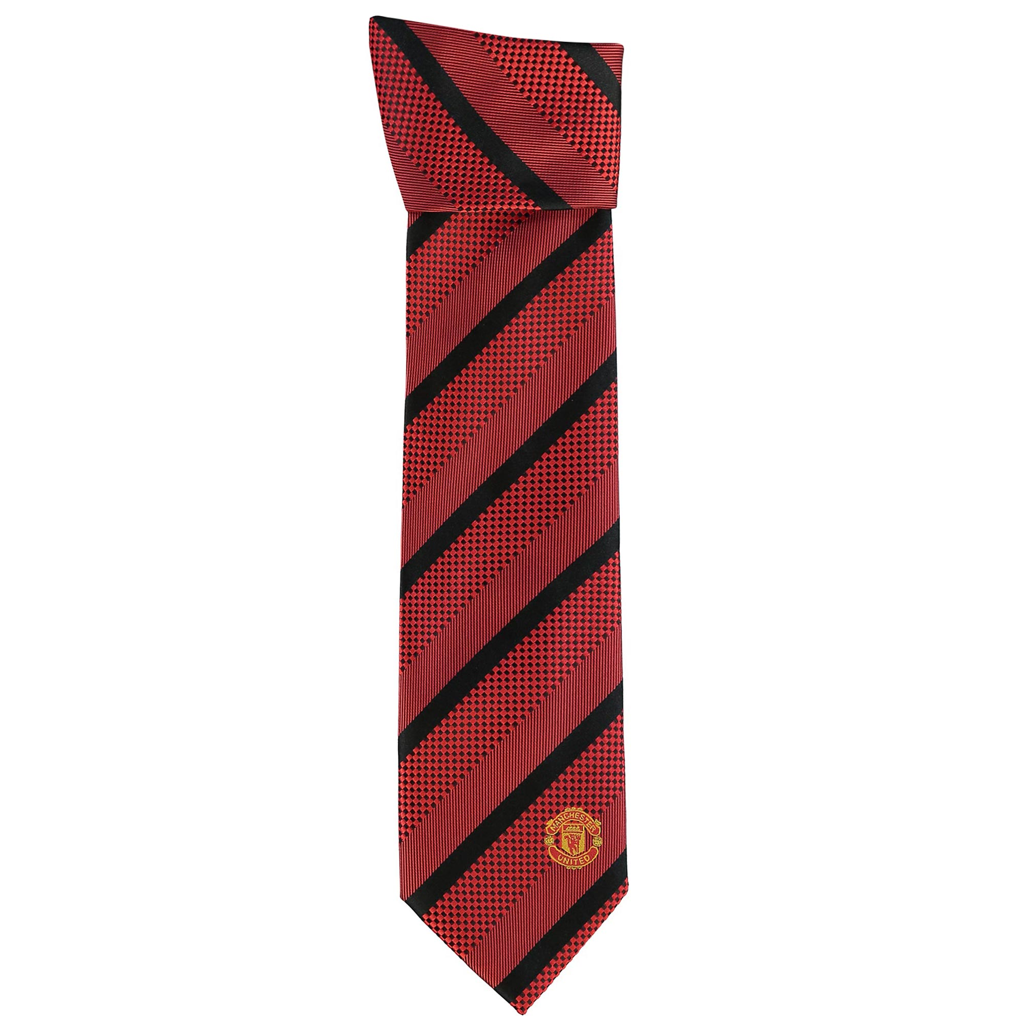 Manchester United Crest Striped Tie - Red-Black - Polyester