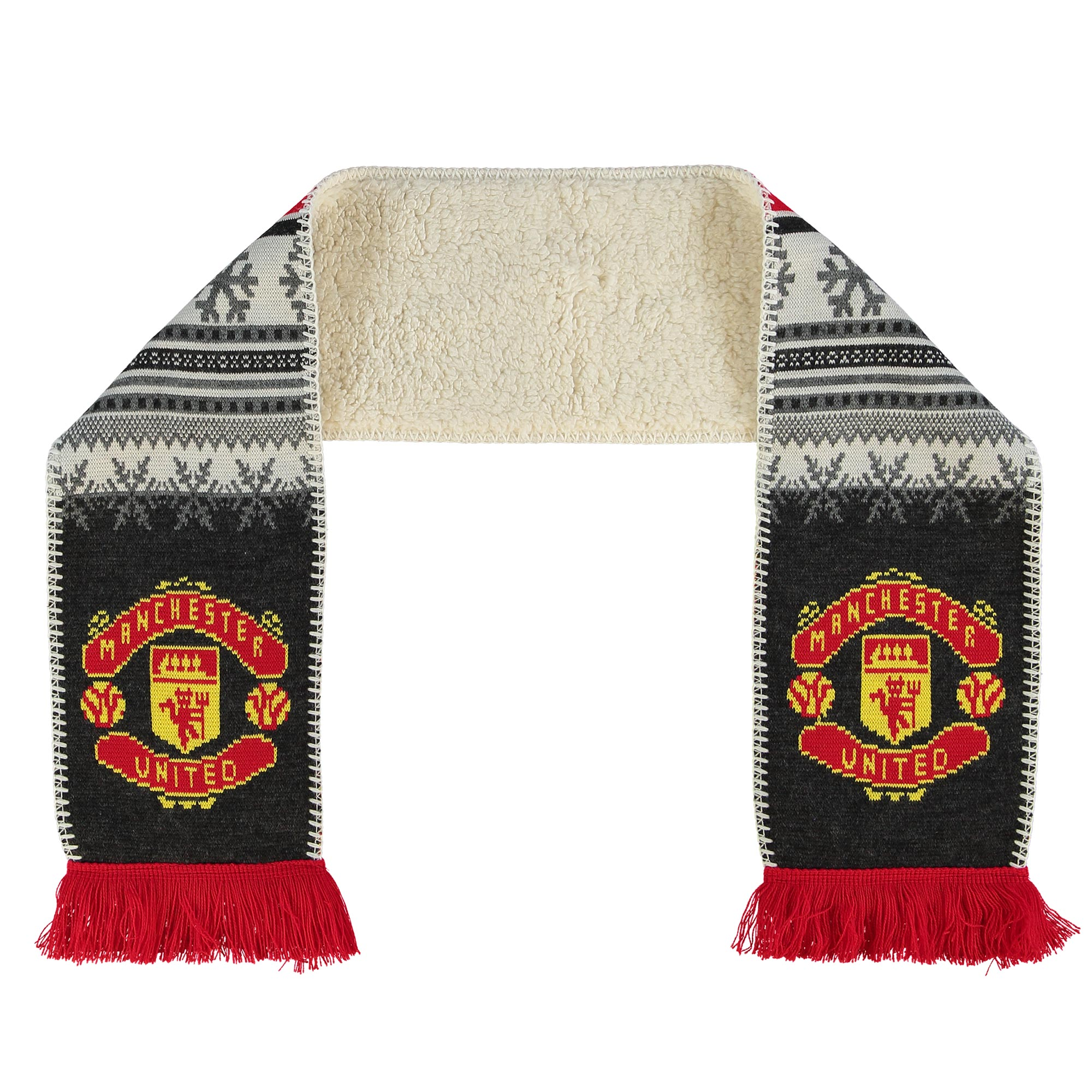 Manchester United Fleece Lined Fairisle Scarf - Grey/Red - Adult