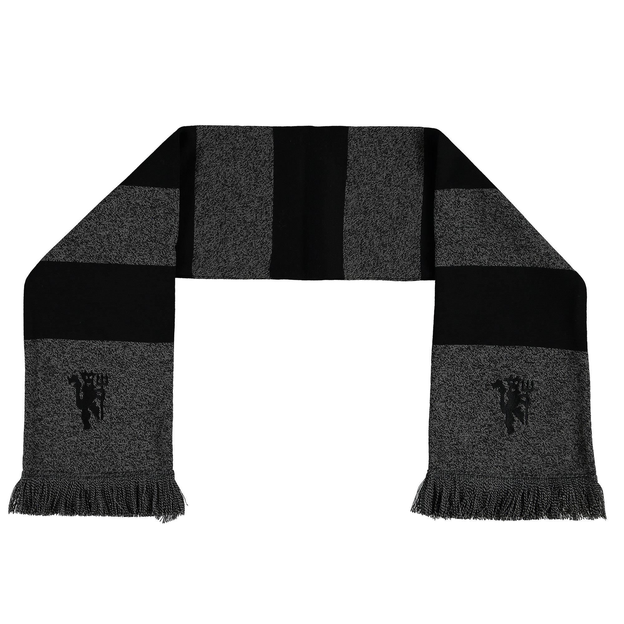 Manchester United Marl Striped Scarf - Grey/Black - Adult