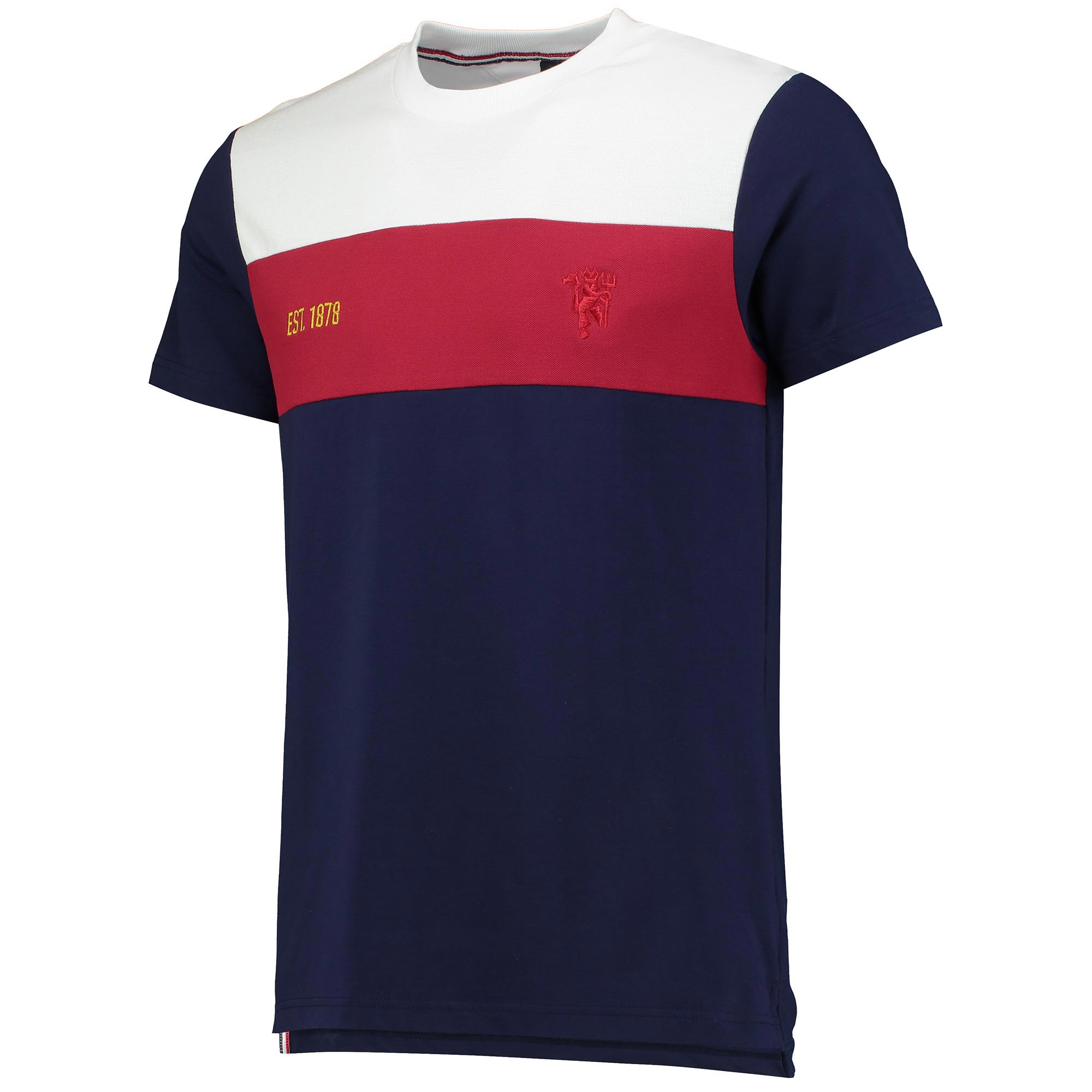 Manchester United Premium Devil Panelled T-Shirt - Navy - Mens