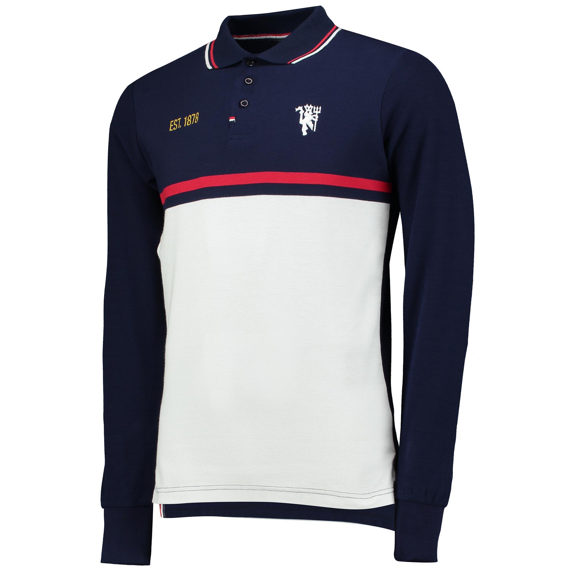 Manchester United Premium Devil Panelled Long Sleeve Polo Shirt - Navy