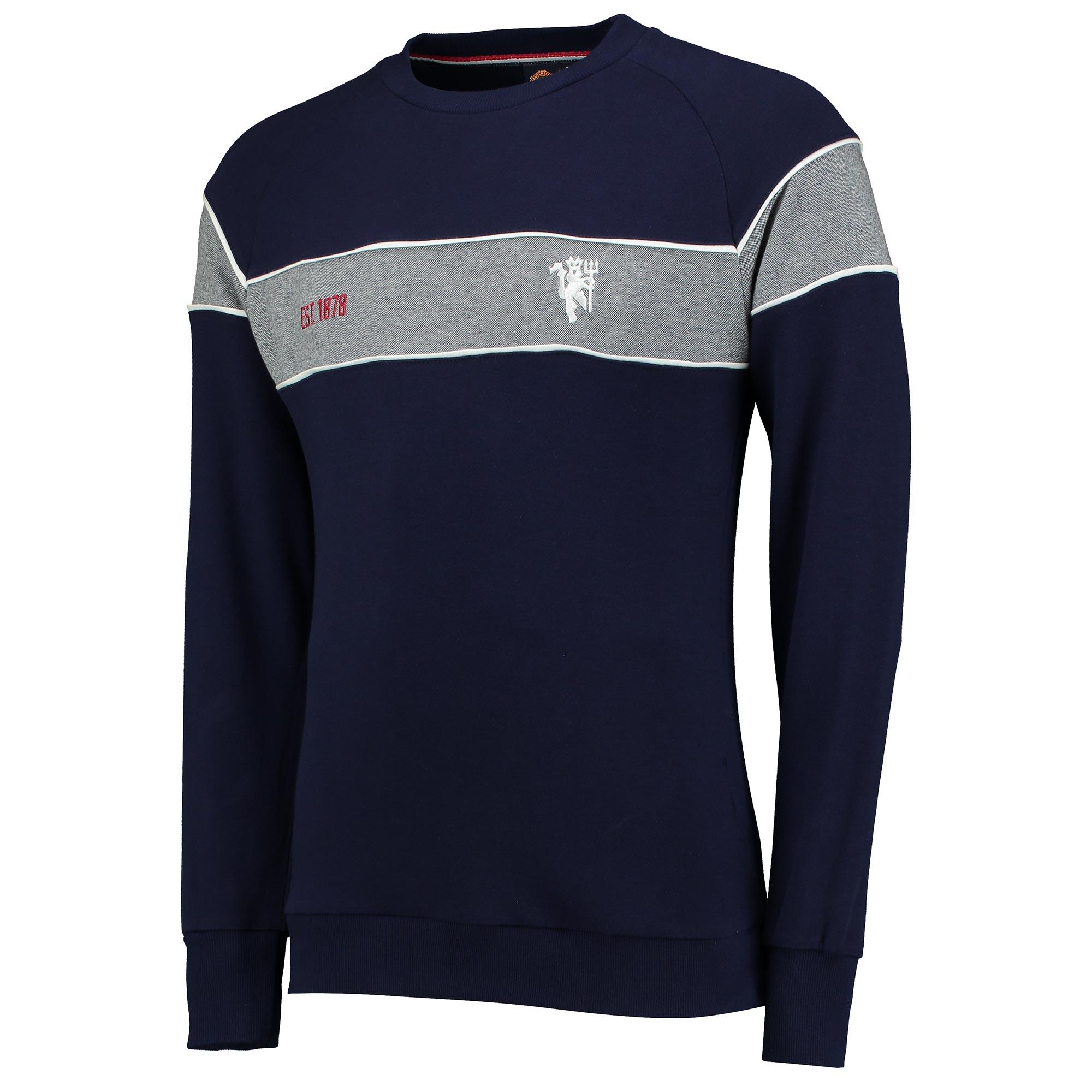 Manchester United Premium Devil Panelled Crew Neck Sweater - Navy - Me