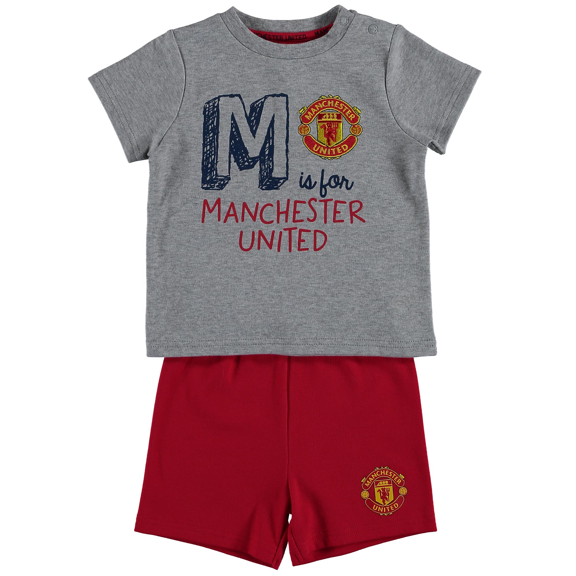 Manchester United T-Shirt And Short Set - Grey Marl/Red - Baby
