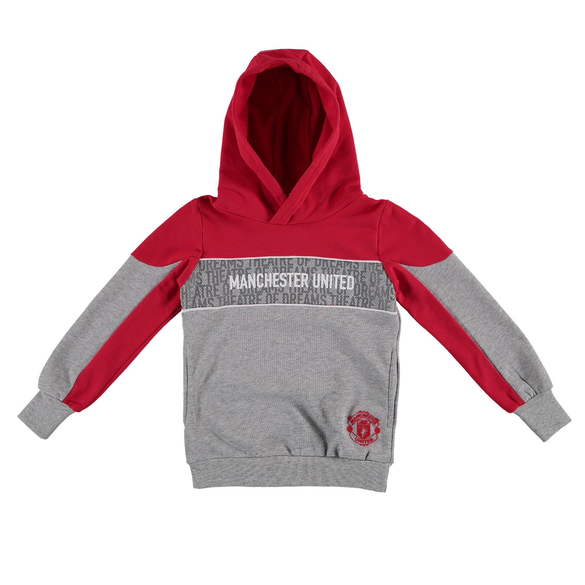 Manchester United Hoodie - Grey/Red - Girls